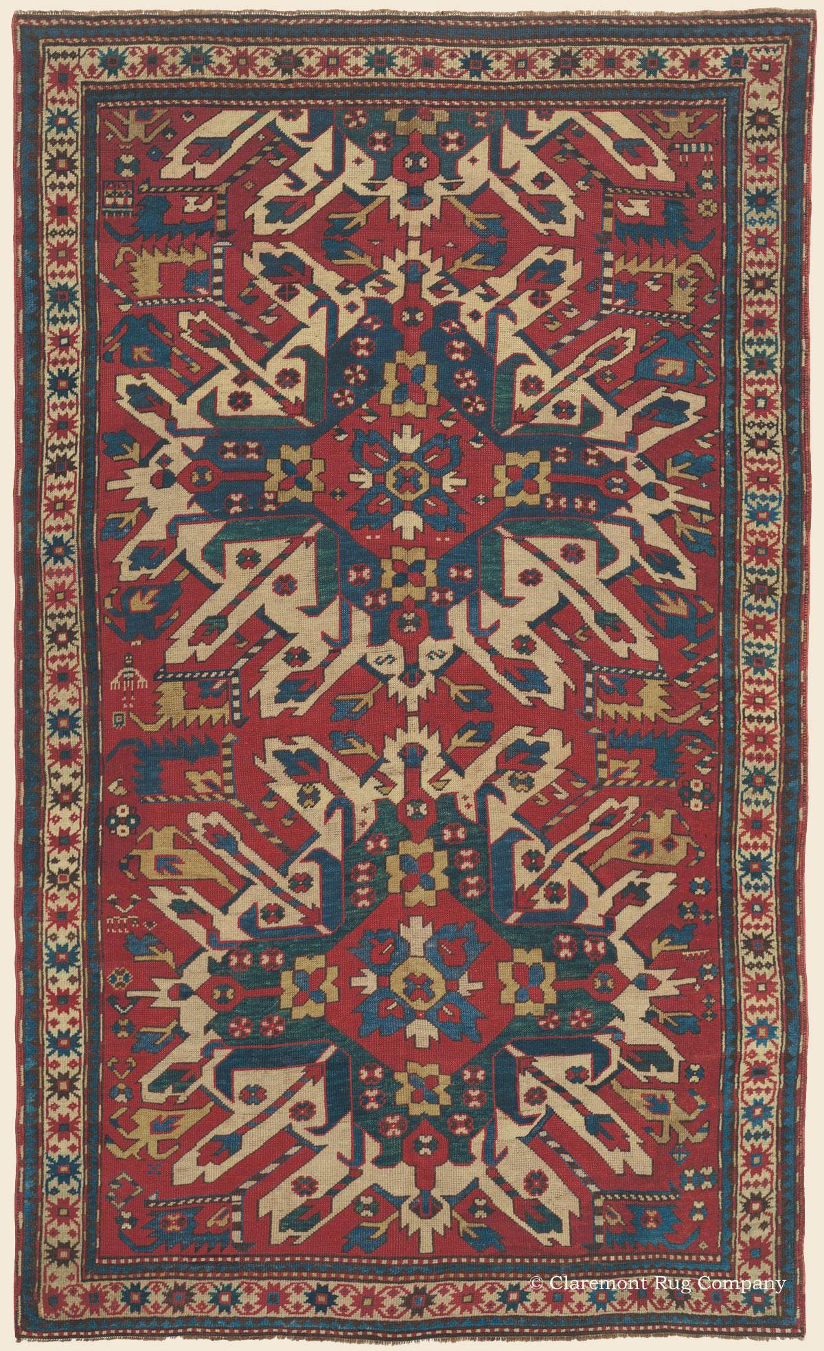 Eagle Kazak Chelaberd Karabagh Caucasian Antique Rug