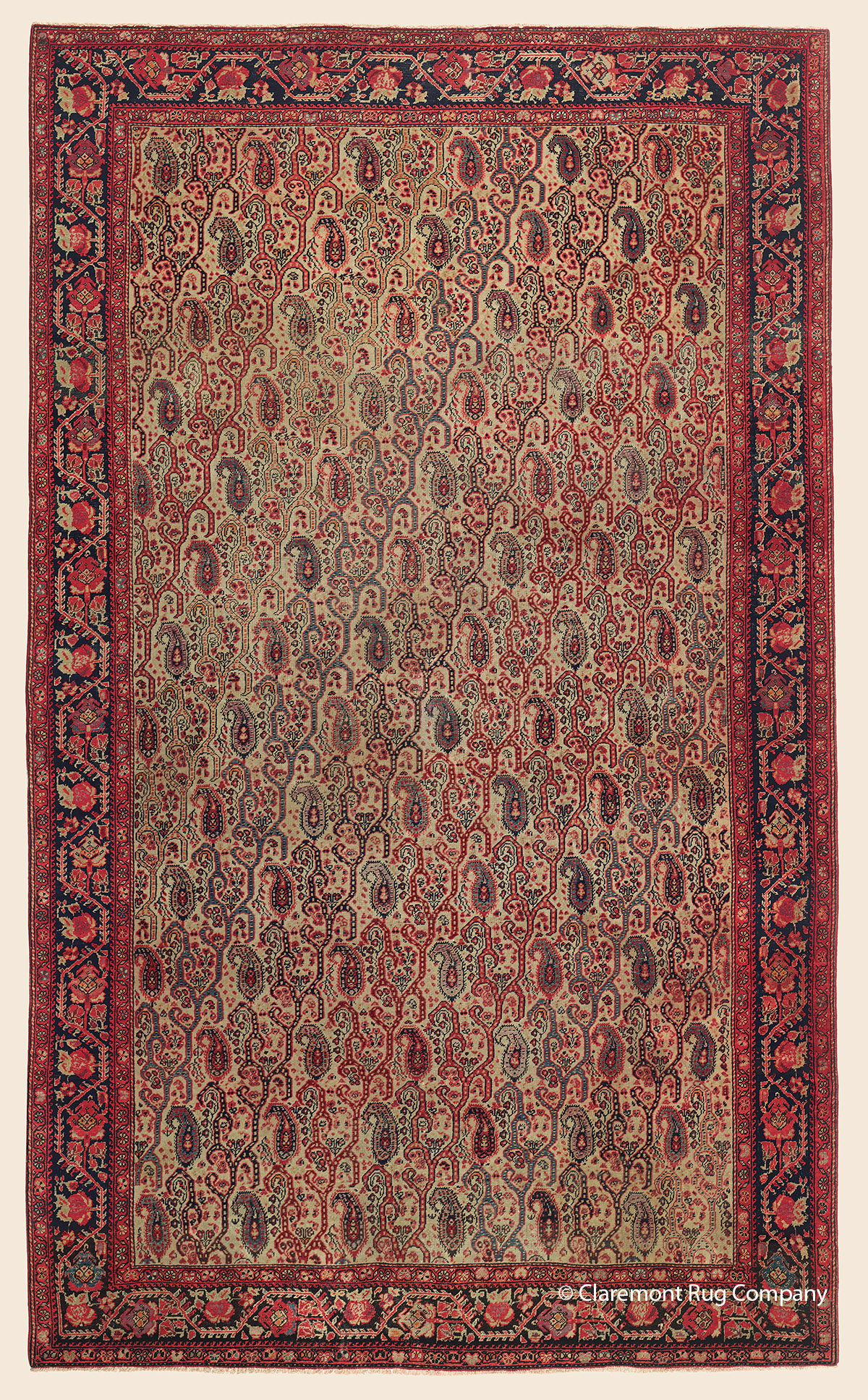 Antique 19th century West Central Persian Ferahan Collectible Oriental Area Rug with allover