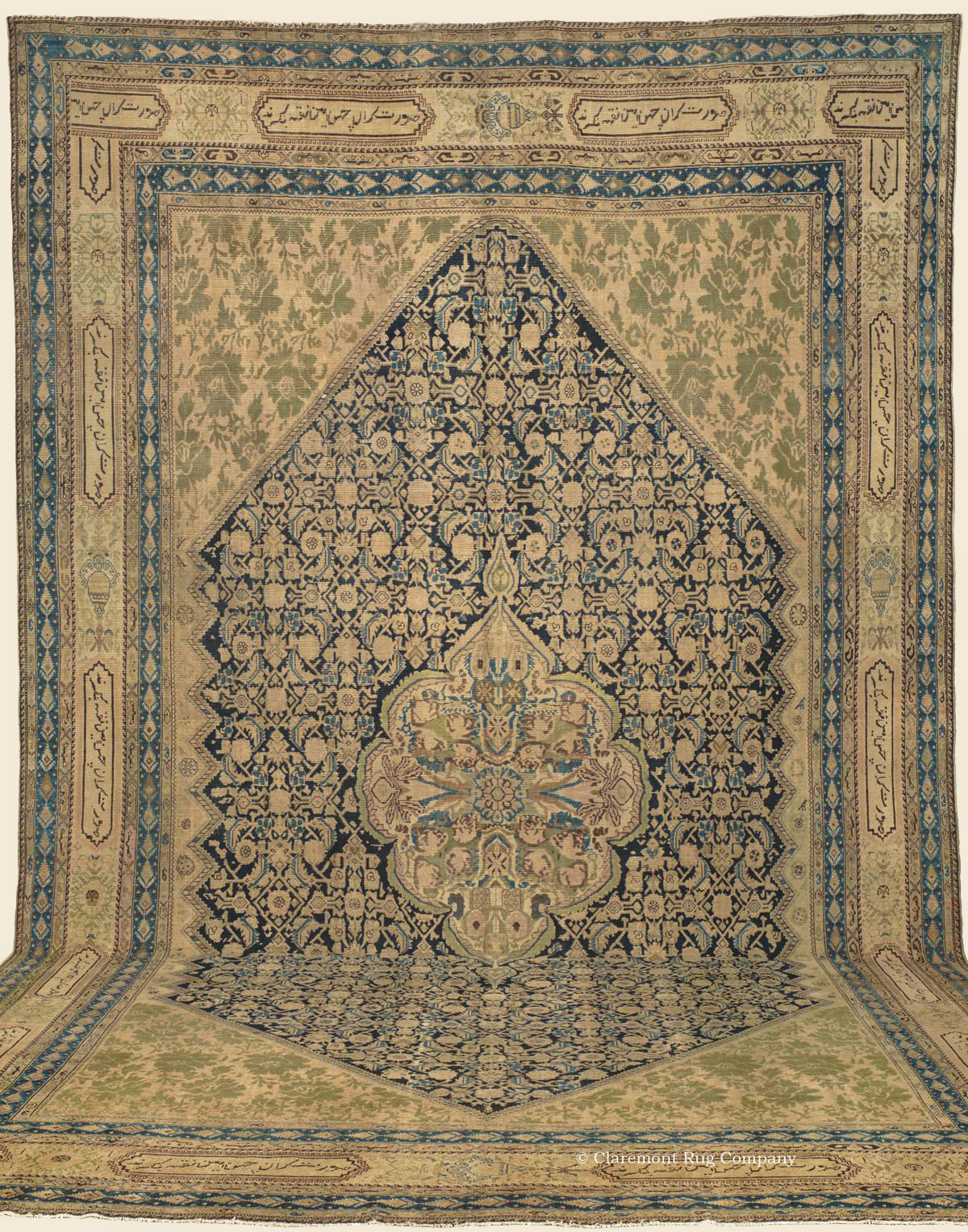19th century rare antique Collectible floral blue Oriental Malayer Oversized Rug