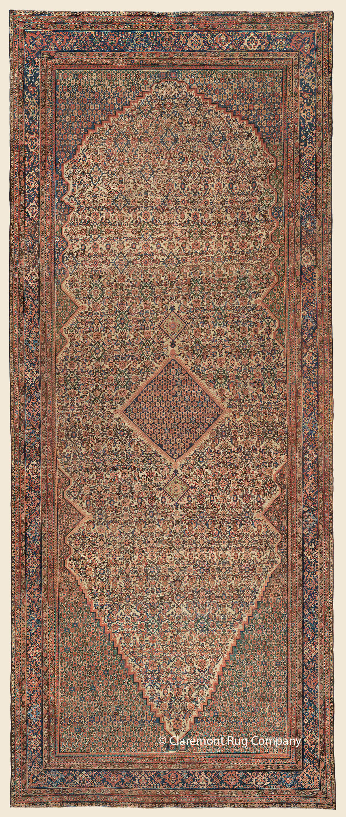 19th century Antique Persian Ferahan rug with diamond medallion filled with multicolored blossoms