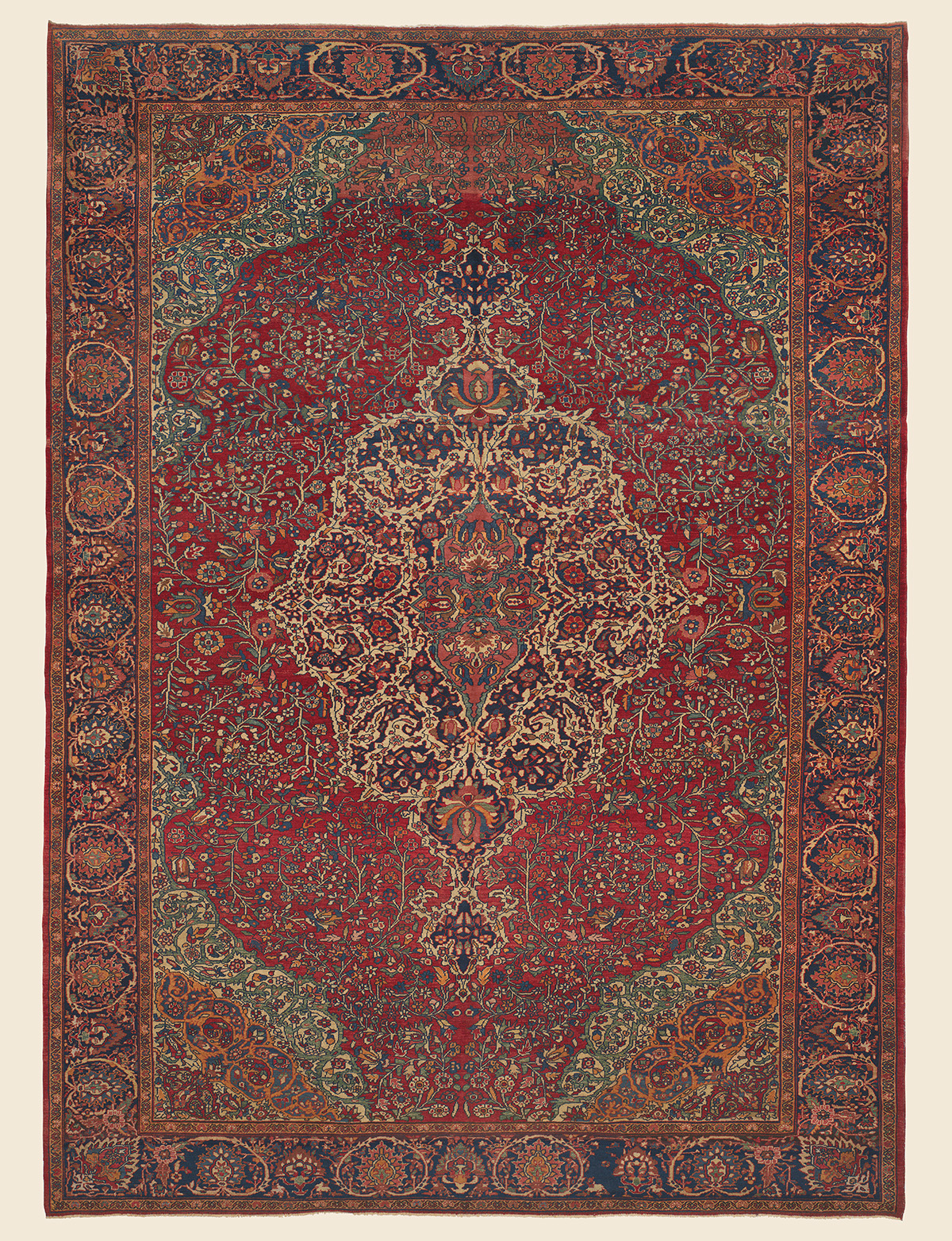 Circa 1900 Persian Ferahan Rug in Deeply Saturated abrash Jewel Tones and floral motifs