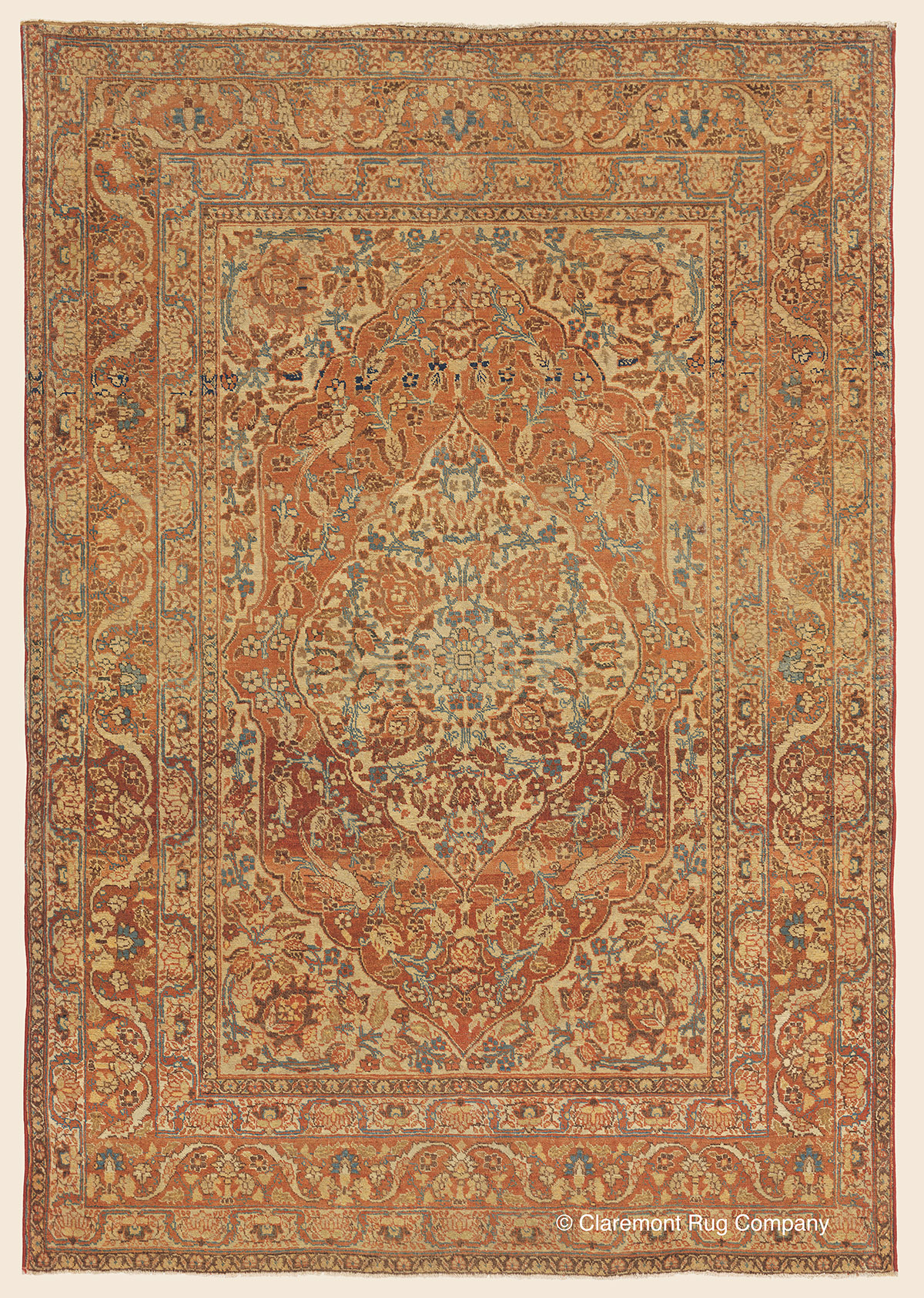 19th century Antique Tabriz Carpet from Master Rug Designer Hadji Jallili in hues of terracotta