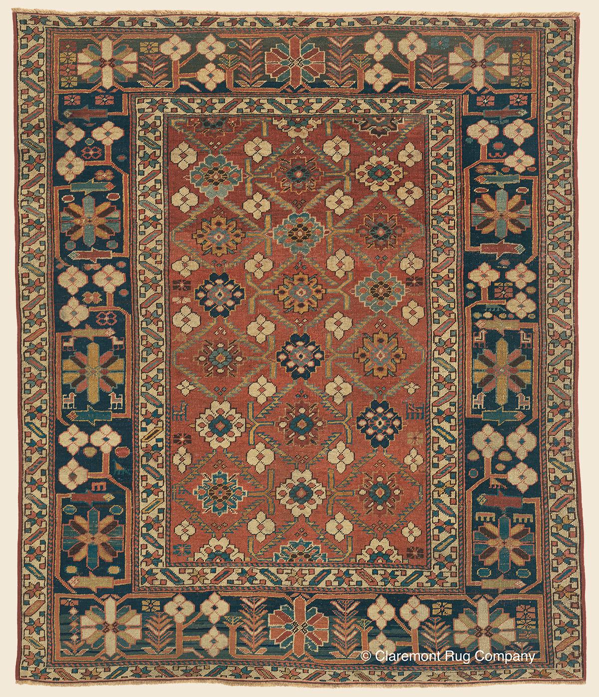 SHIRVAN BLOSSOM RUG, Southeast Caucasian Antique Rug