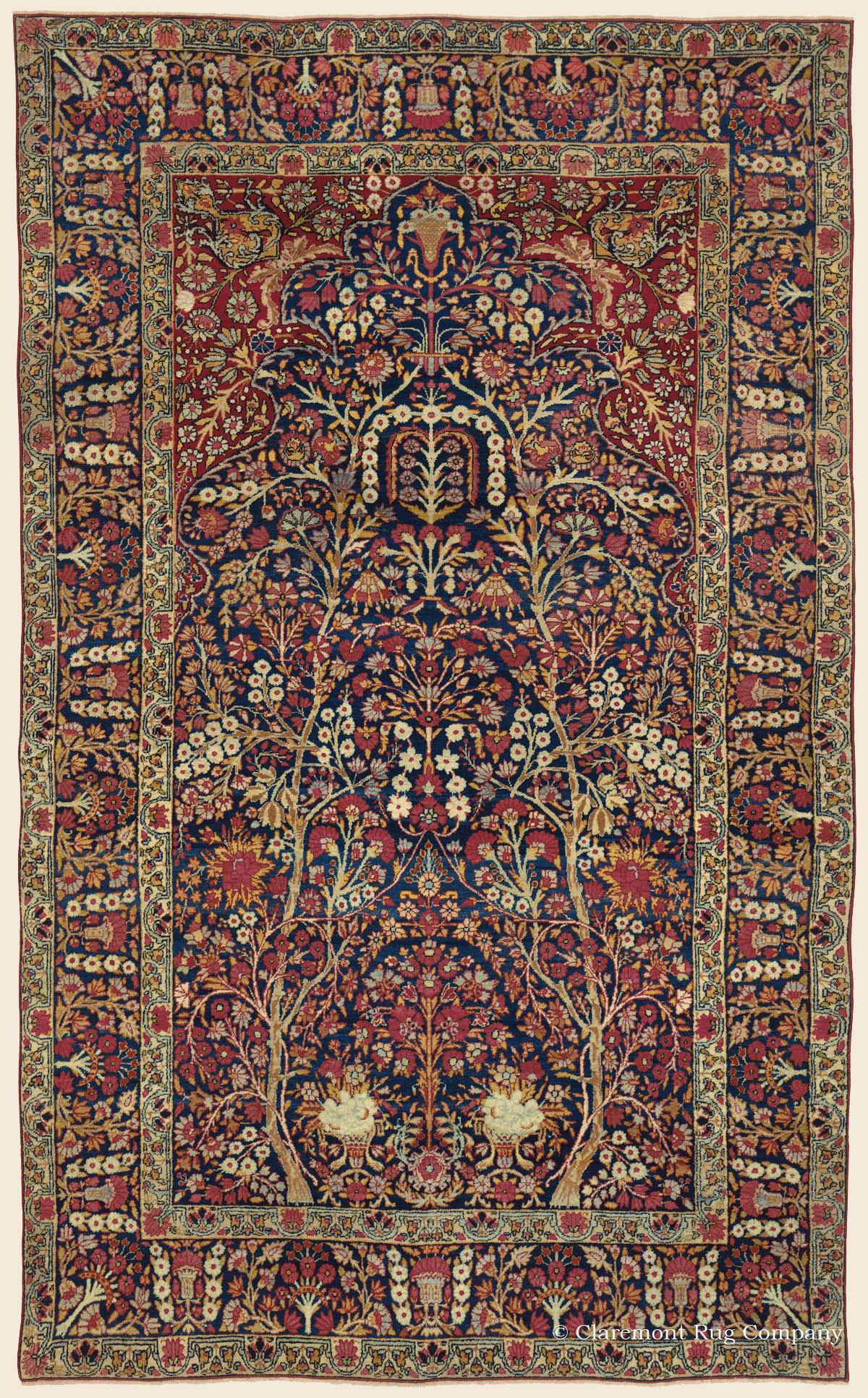 LAVER KIRMAN GARDEN OF PARADISE, Southeast Persian Antique Rug ...