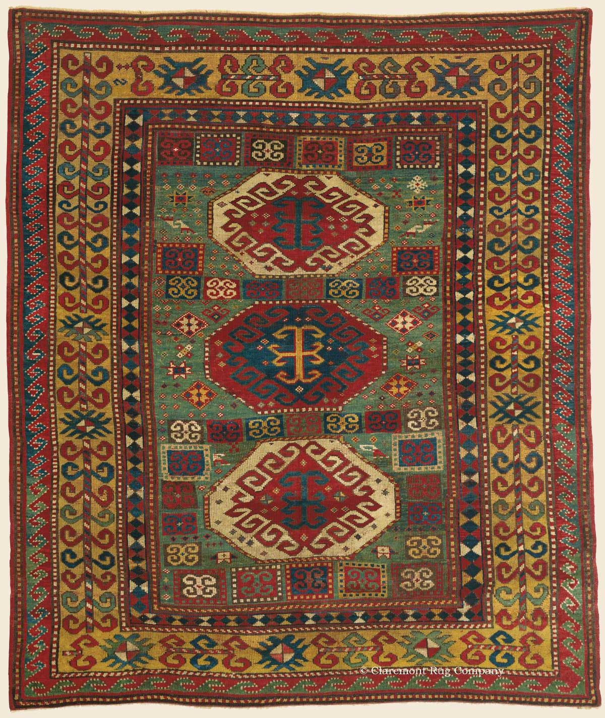 BORDJALOU KAZAK, Southeast Caucasian Antique Rug