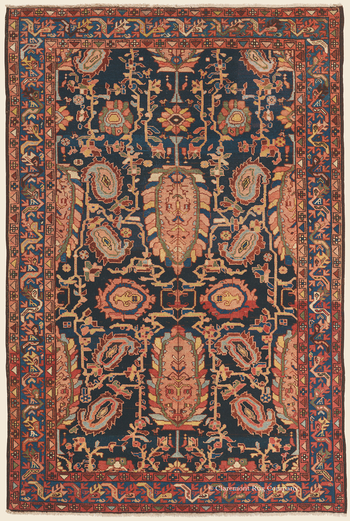 19th Century Malayer Area Size Oriental Rug with mythical dragon border design and floral theme