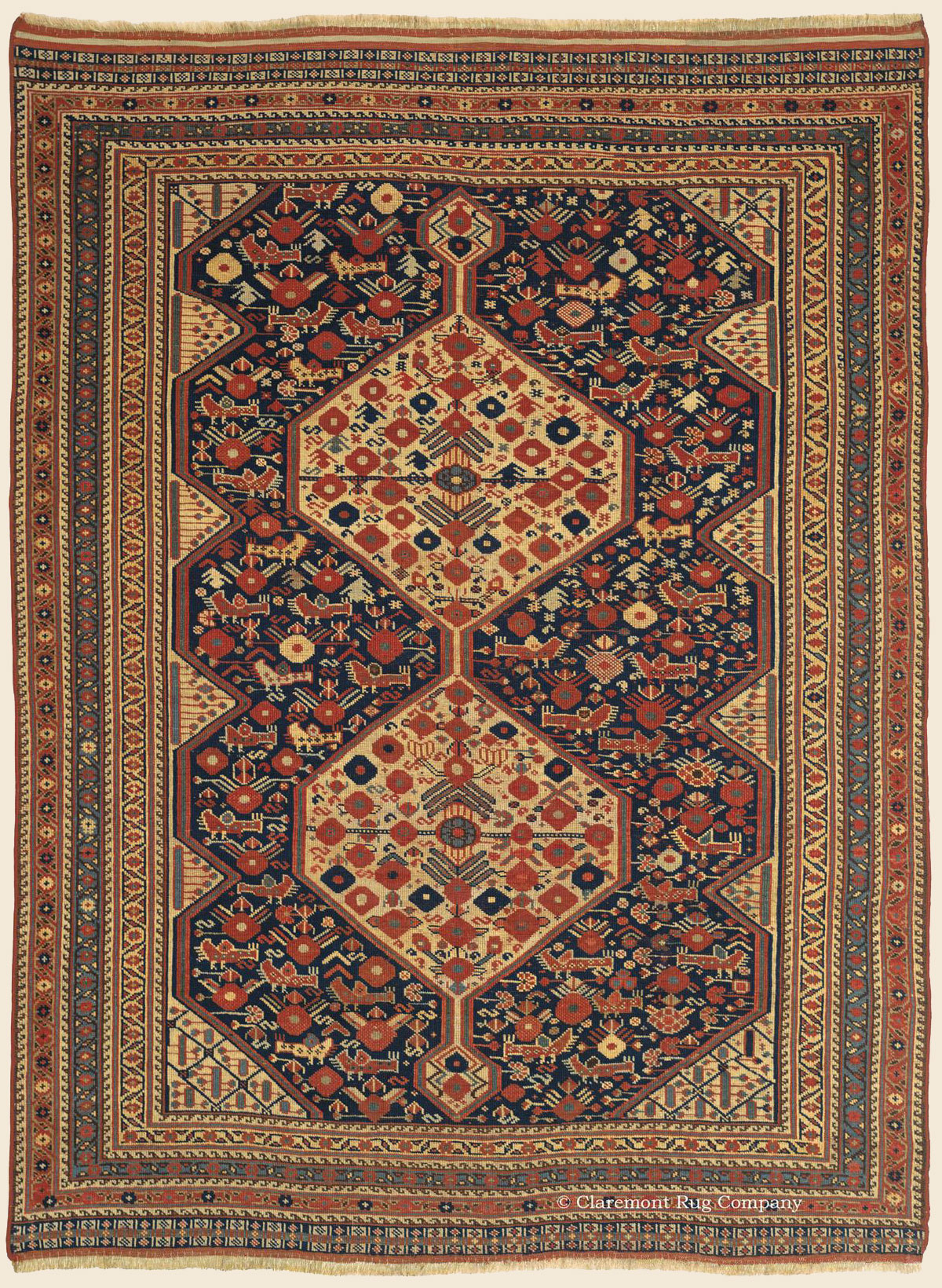 Khamseh Antique Persian Connoisseur Caliber Rug Circa 1875