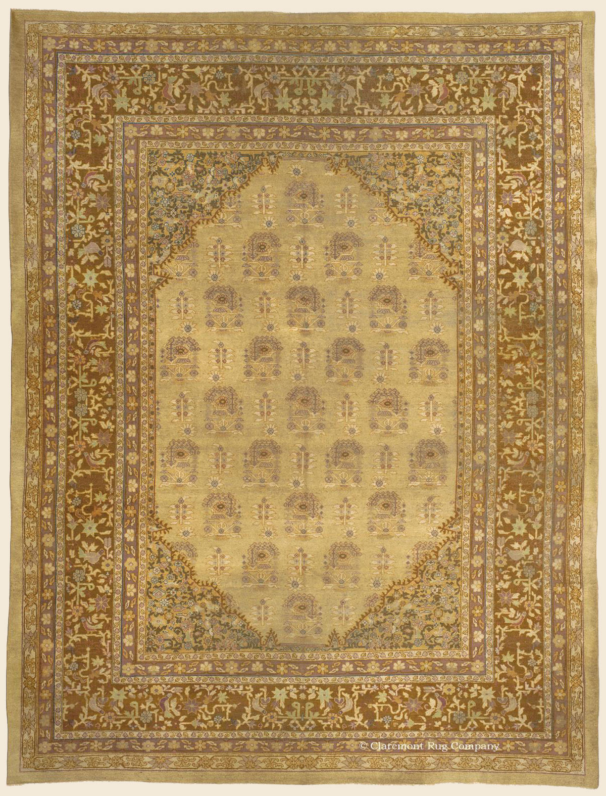 Turn of the century Room sized Antique Agra Carpet in soft neutrals and detailed spandrals