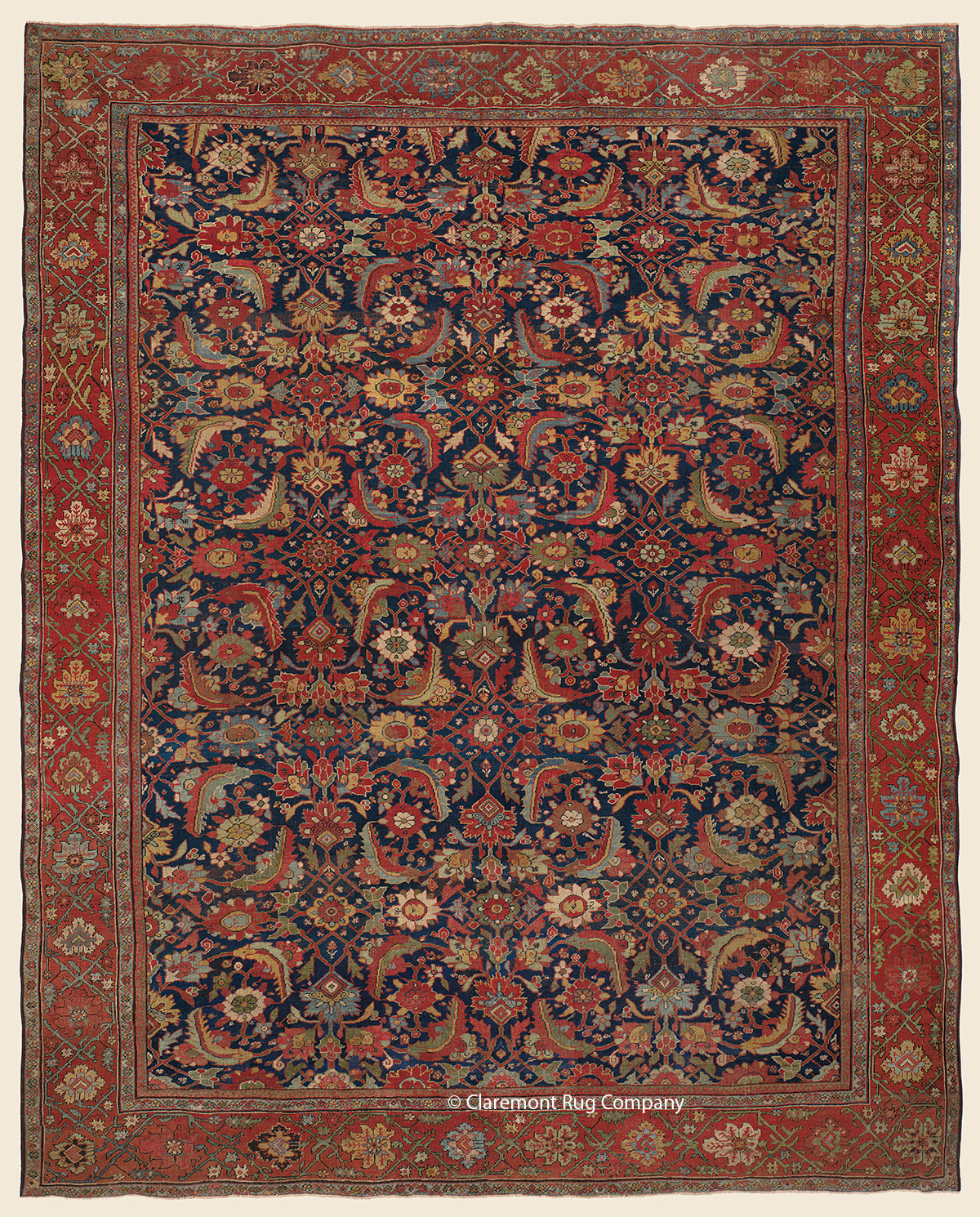 Connoisseur Caliber Antique Sultanabad Oriental Rug with Herati Pattern