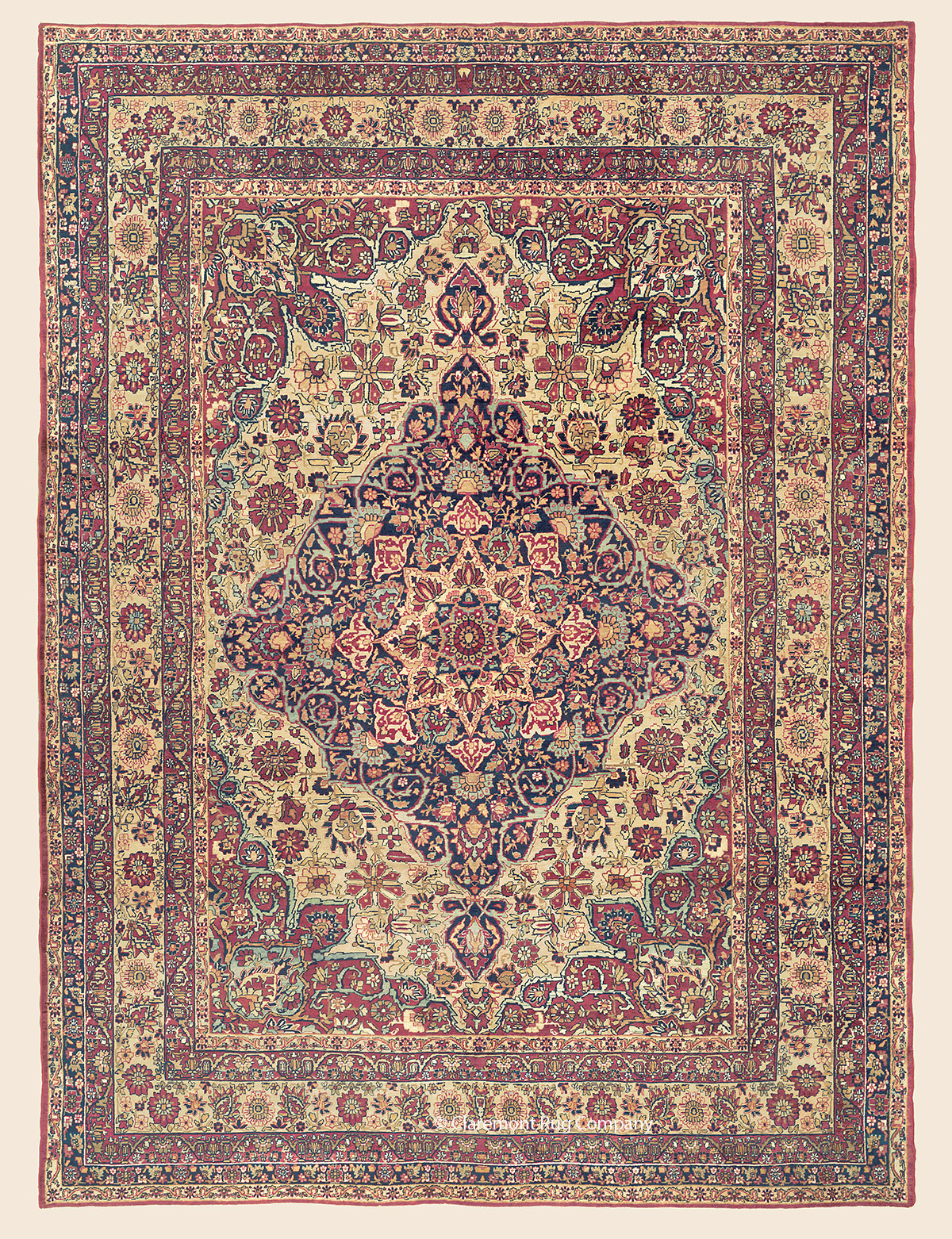 19th century Graceful Persian Laver Kirman Rug with botanical border and field