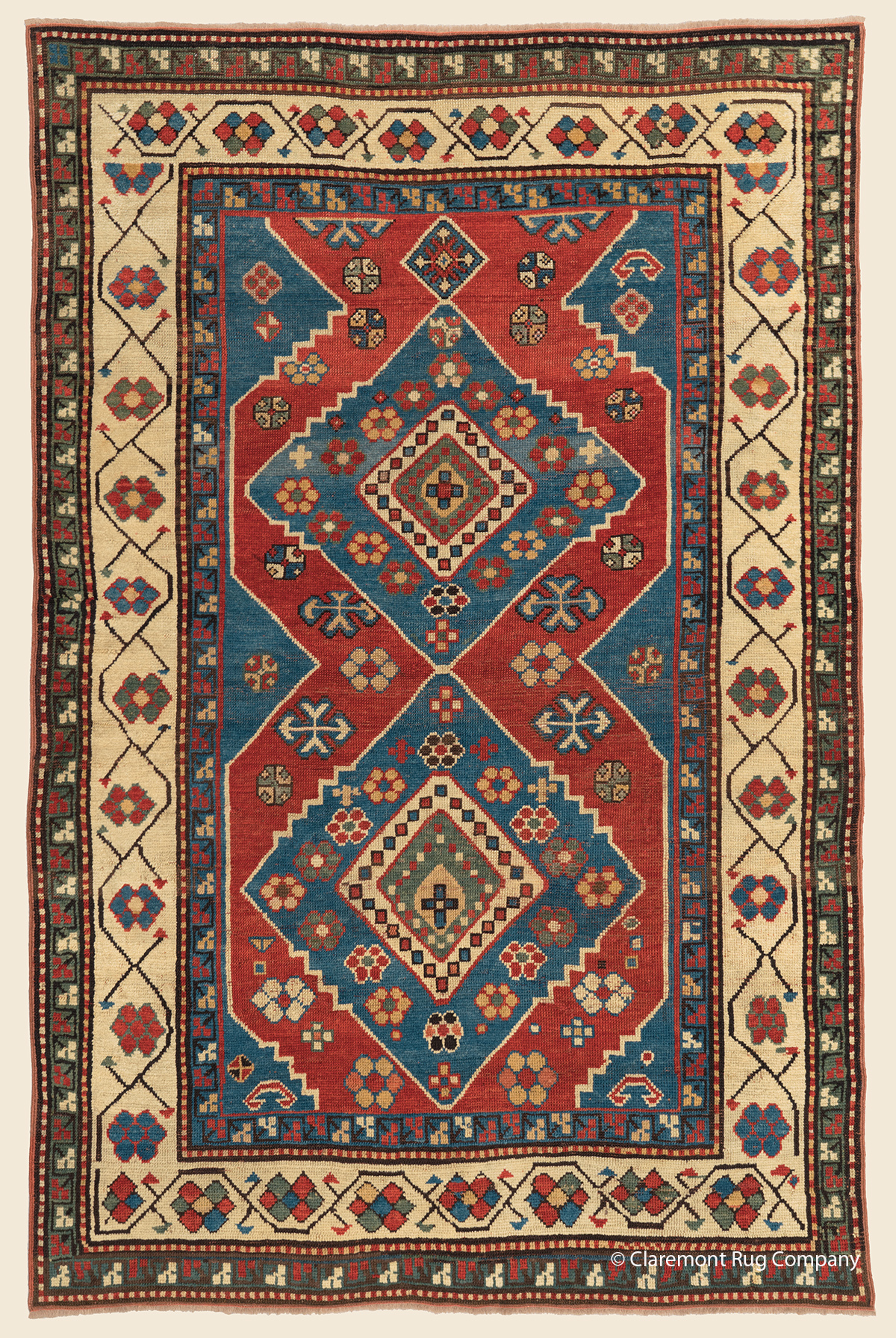 Geometric Caucasian Kazak Tribal Rug with two diamond medallions and tribal motifs
