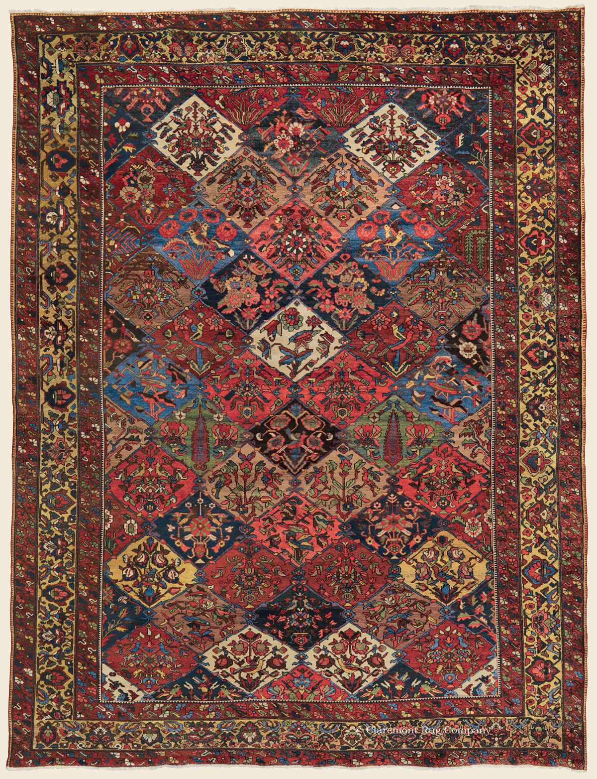 Bakhtiari Garden Compartment Carpet Central Persian