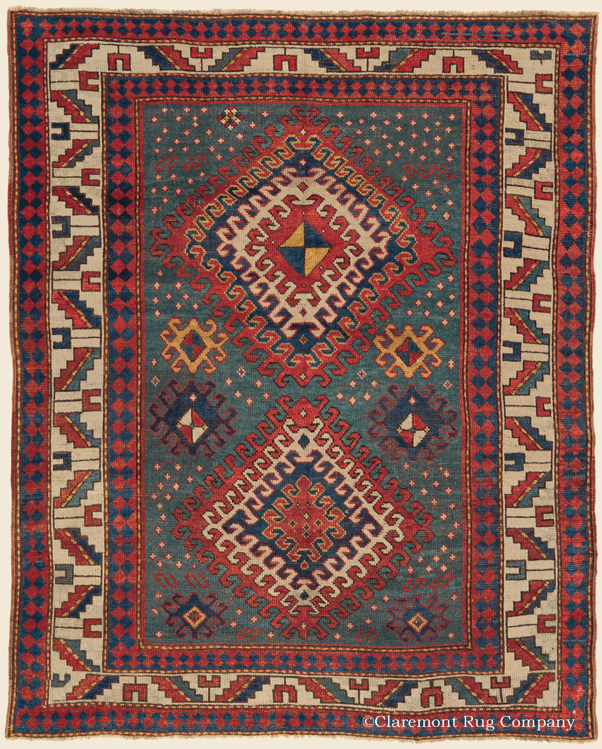 Rare 19th Century Bordjalou Kazak Caucasian Tribal Rug on an abrash teal green ground