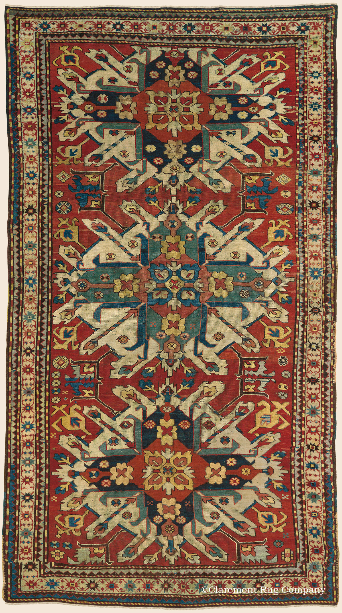 Kazak Eagle Southern Central Caucasian Antique Rug