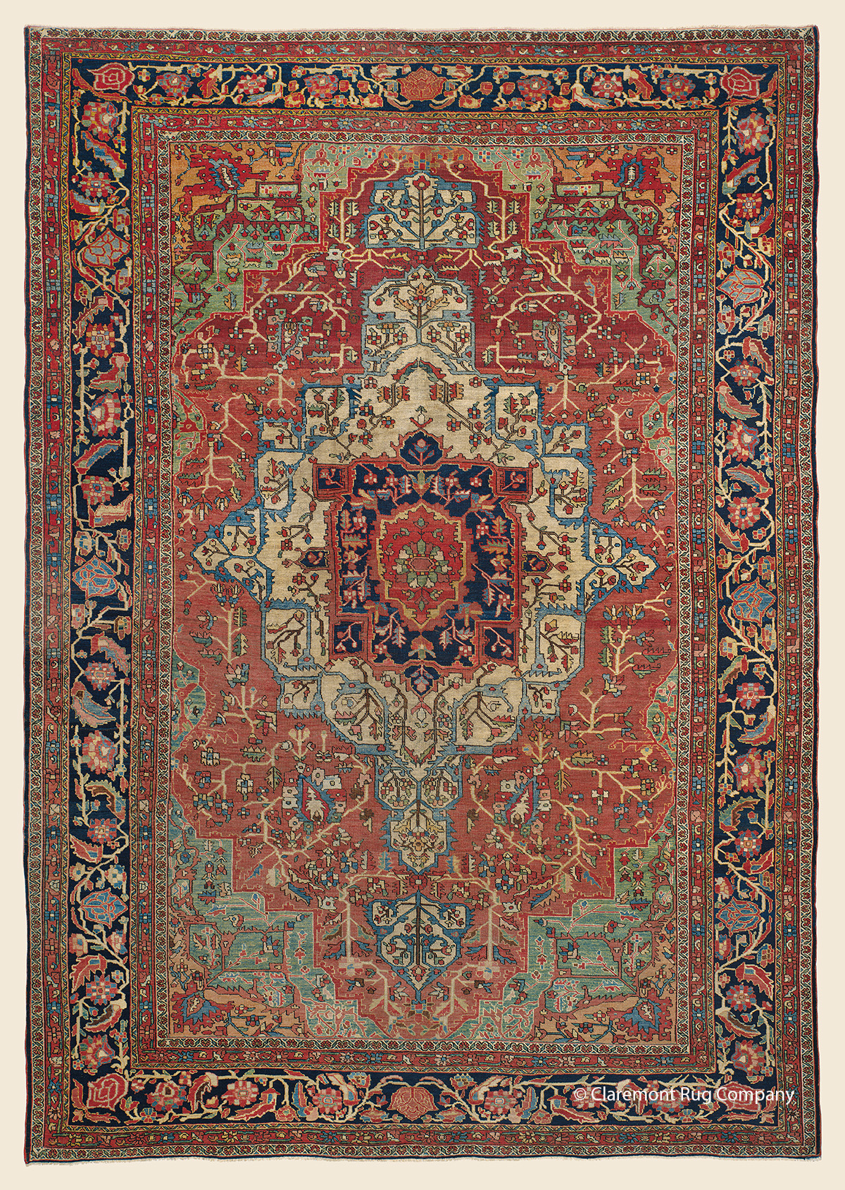 19th century  Antique Ferahan Sarouk Oriental Carpet in Apple Green 8ft x 12ft