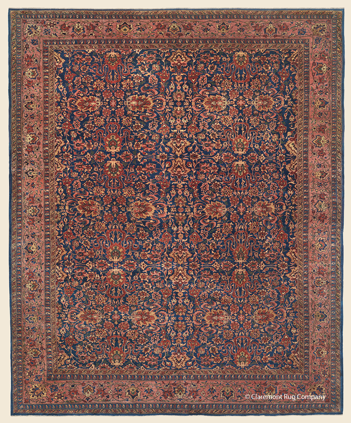 19th Century Ferahan Sarouk Carpet in hues of cobalt, rose, carnelian and gold