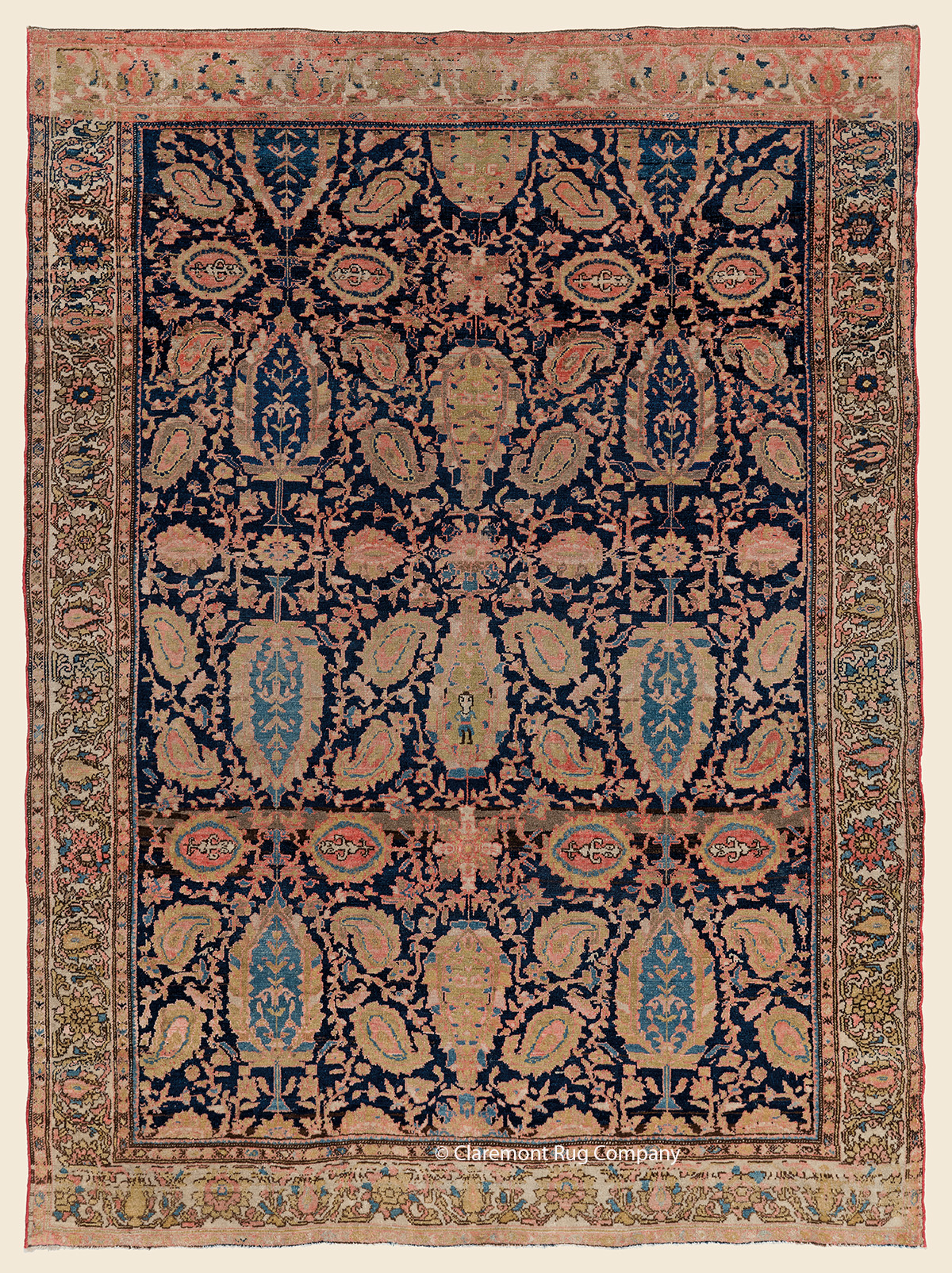 19th century Mishin Malayer Antique Persian Rug 4ft x 6ft with floral design of Boteh and orchids