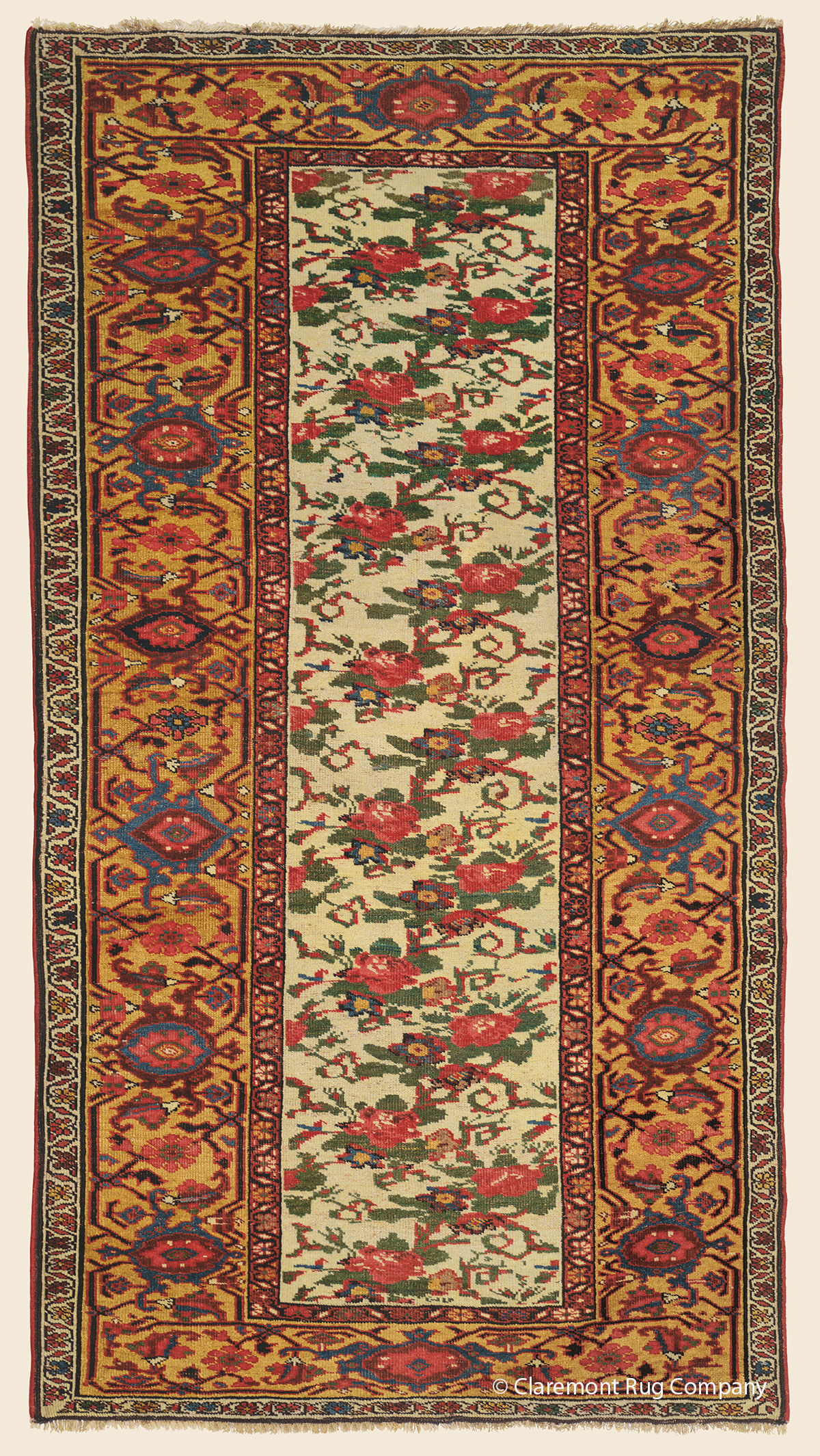 19th Century Bijar (Bidjar) Antique Persian Rug with blossom and vinery border and Guli Farang motif