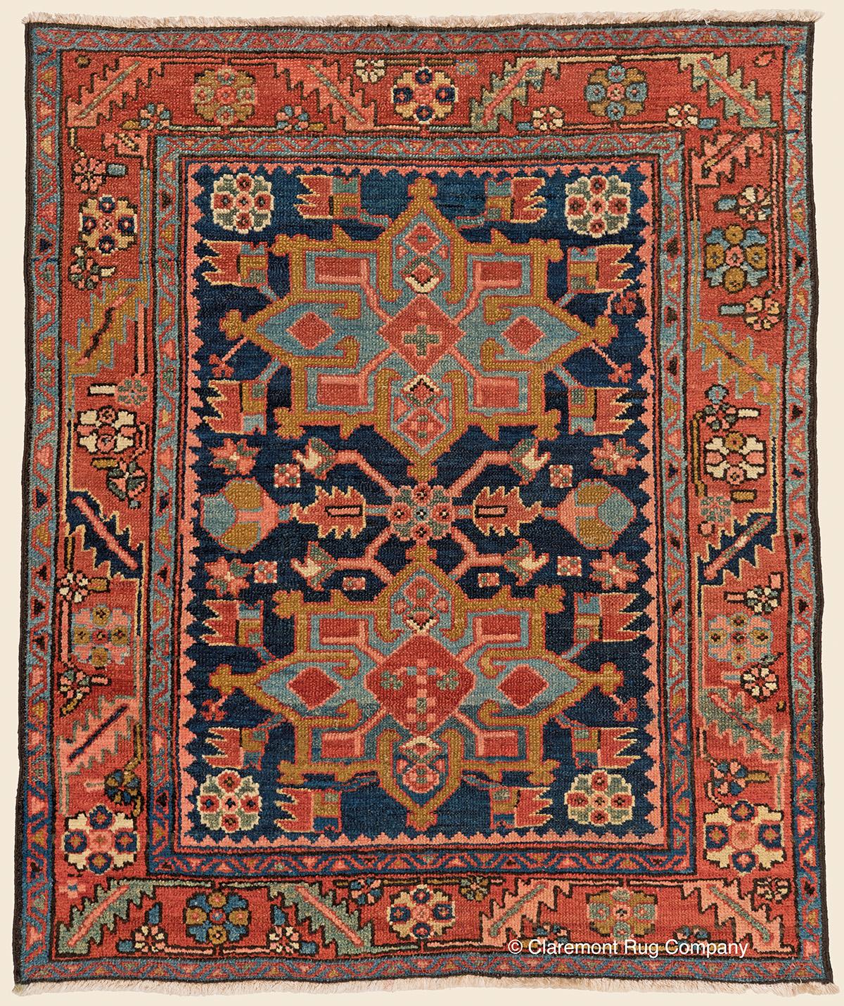 Vintage Persian Heriz Design Wool Area Rug: HERIZ, Northwest Persian Antique Rug