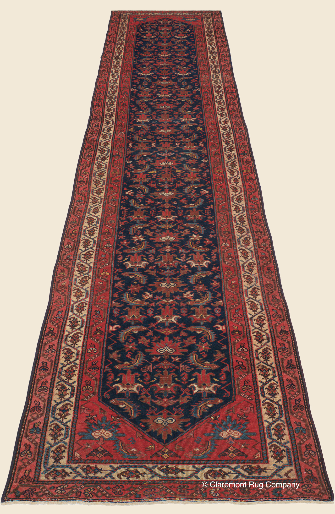 Decorative Persian Malayer Runner with tribal motifs and an allover Herati pattern in jewel tones