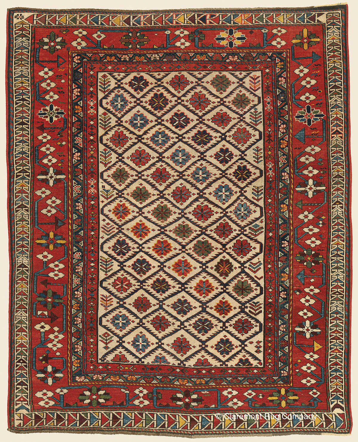 "Oriental Rugs Red Bank Nj: SHIRVAN ""Blossom Rug"", Southeast Caucasian Antique Rug"