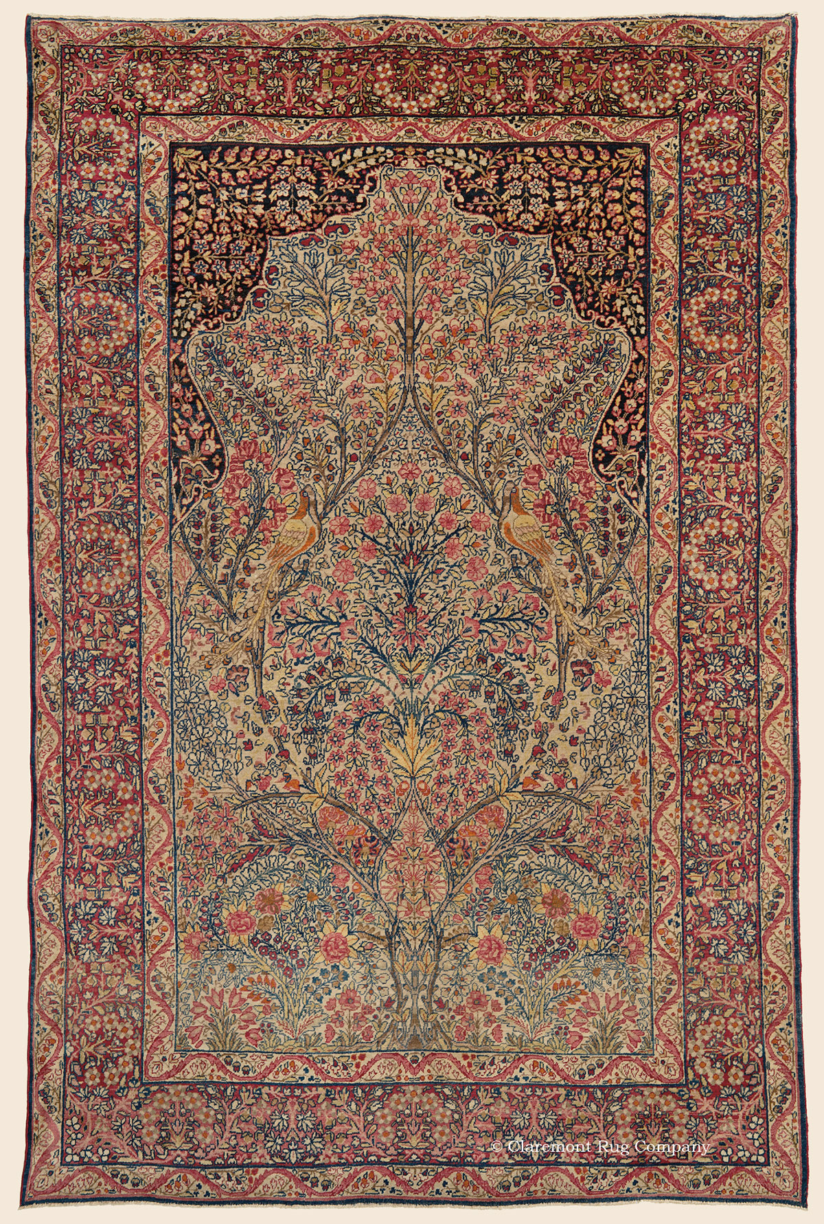 Laver Kirman Tree Of Life Southeast Persian Antique Rug