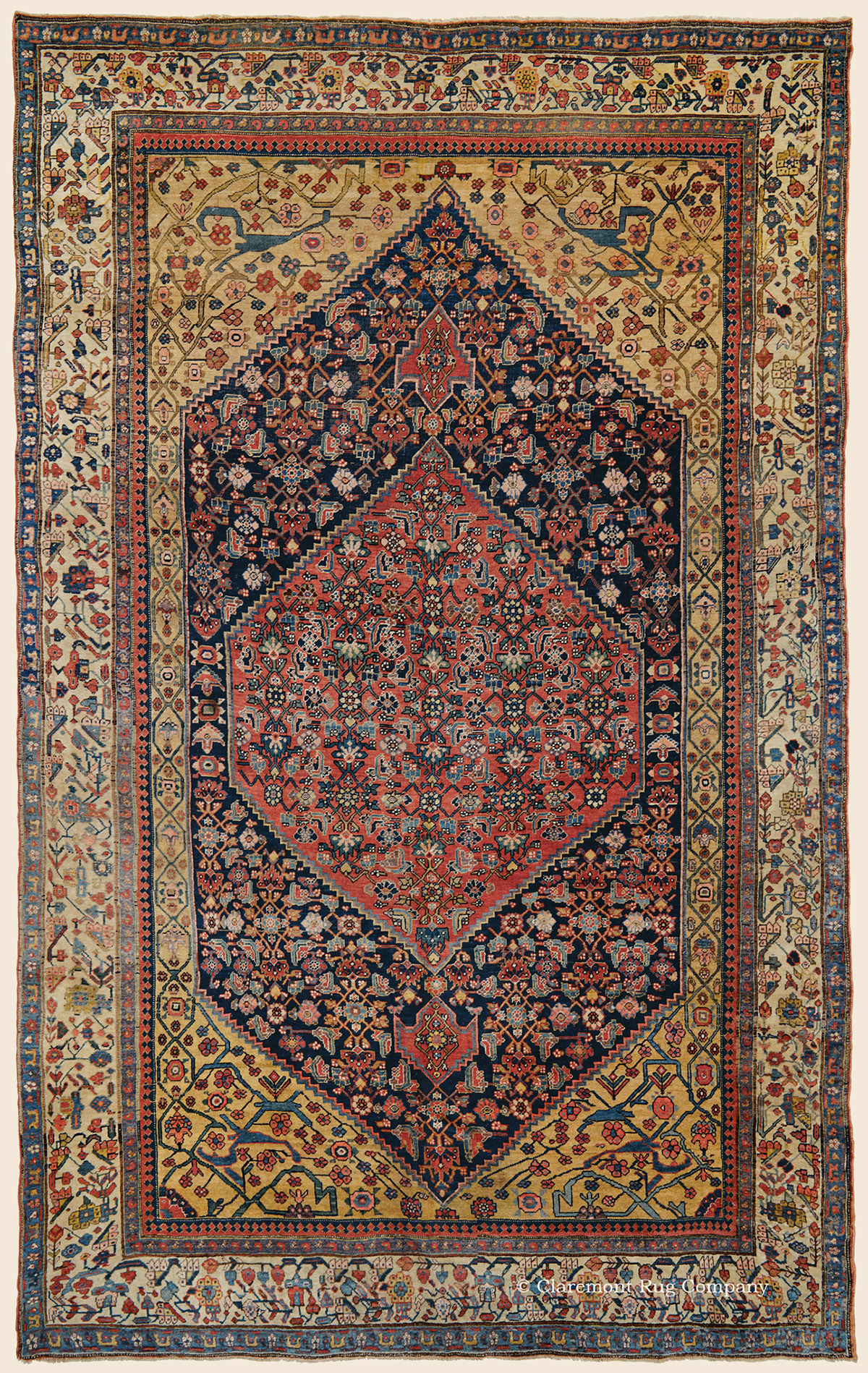 Halvai Bijar Bidjar Northwest Persian Antique Rug