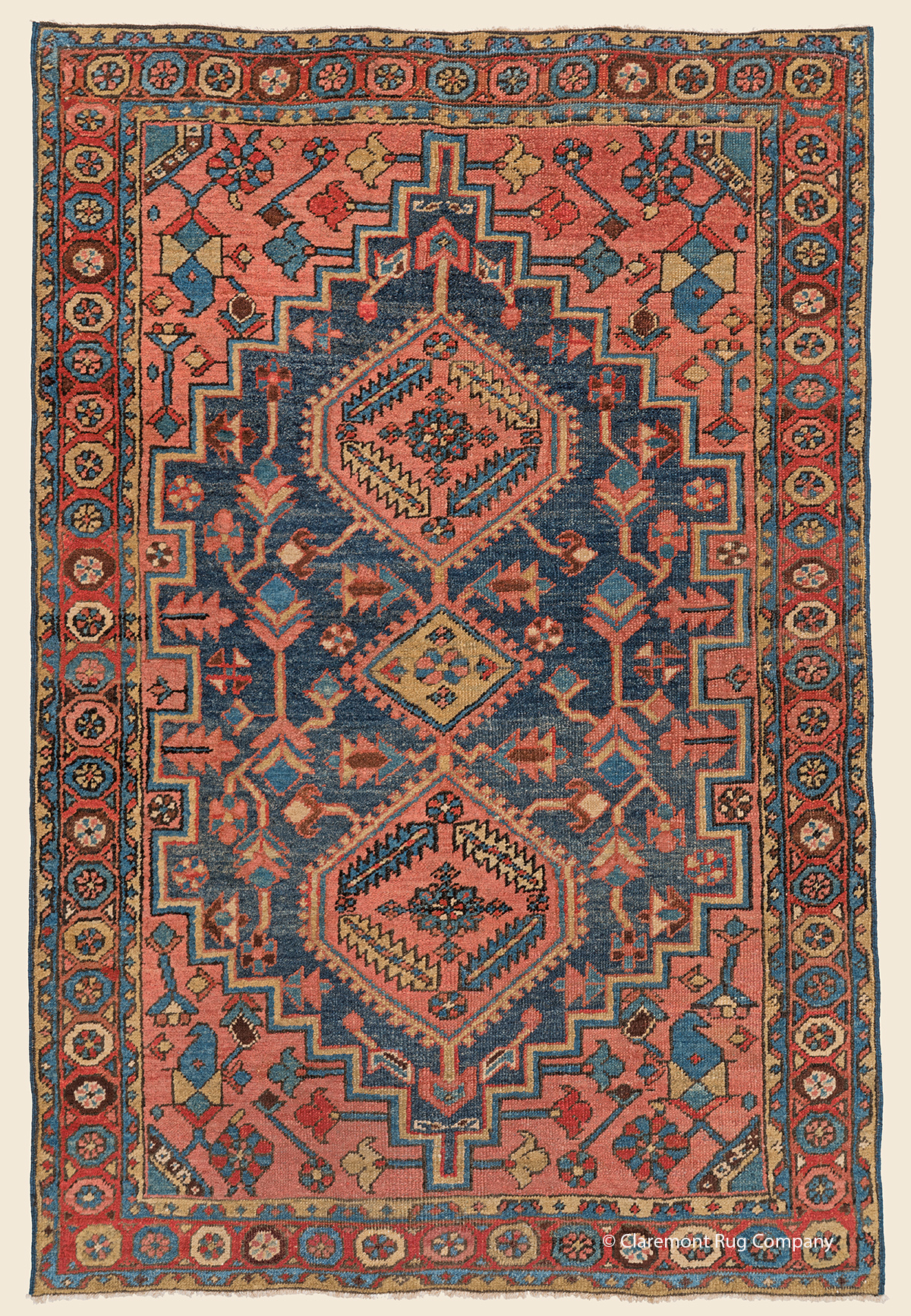 Antique Oriental Collectible Rare Persian Heriz Village Floral Blue Area Rug With A Triple Medallion Antique Rug Claremont Rug Company