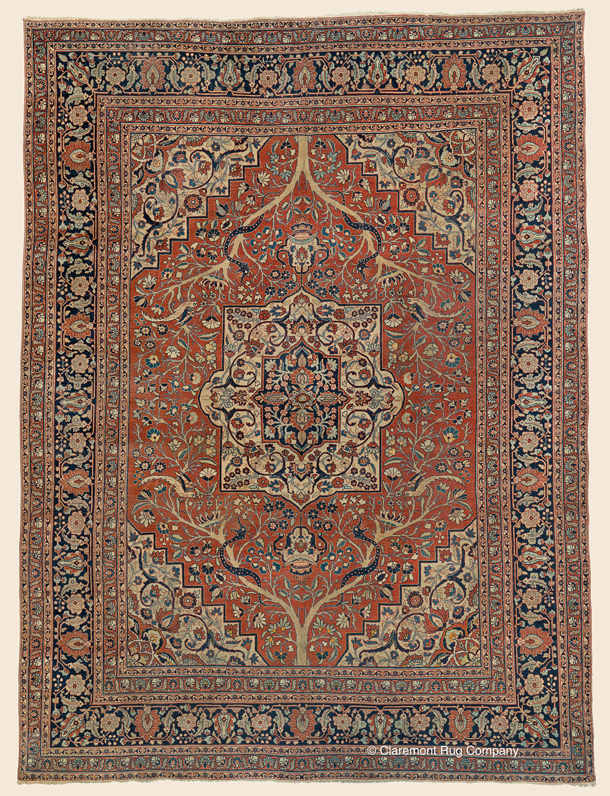 19th century Persian Tabriz Room size carpet with allover floral design of floral sprays and vinery