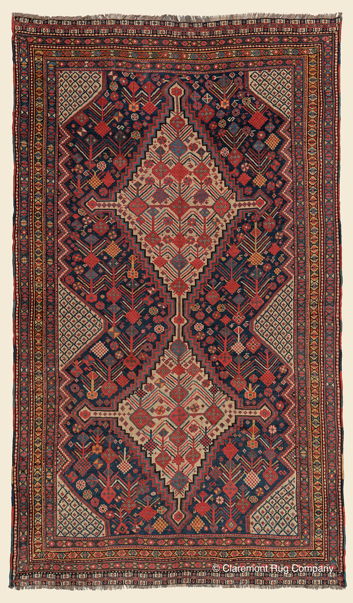 19th century Antique botanical Persian floral Collectible Oriental art-level blue Qashqai Tribal