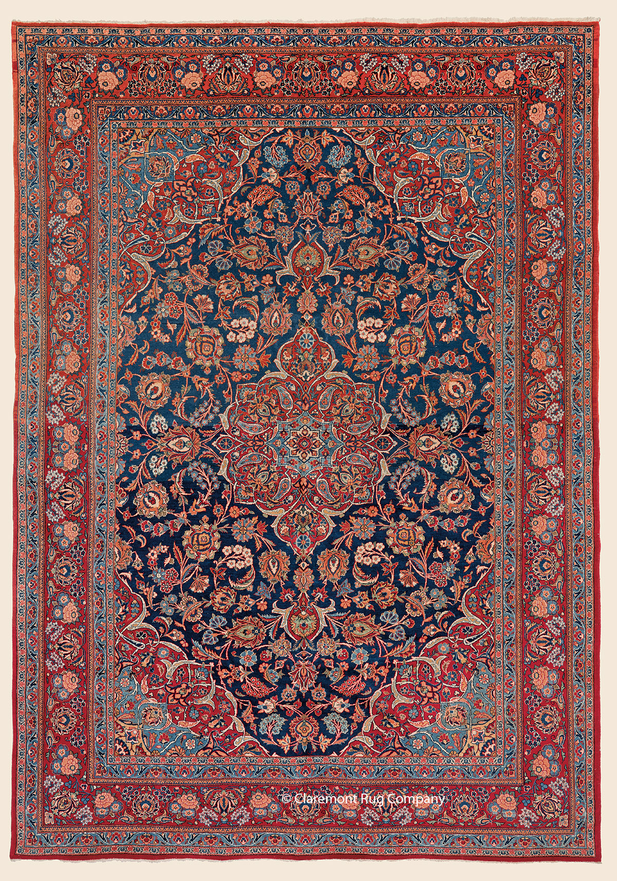 Antique Central Persian Kashan rug 7ft x 10ft with floral ...