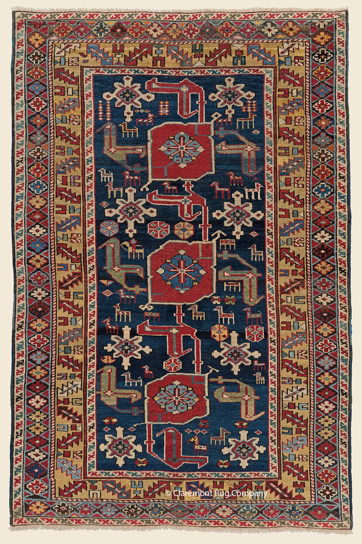 Circa 1875 Antique Caucasian Karagashli Kuba with tribal symbology 3ft x 5ft