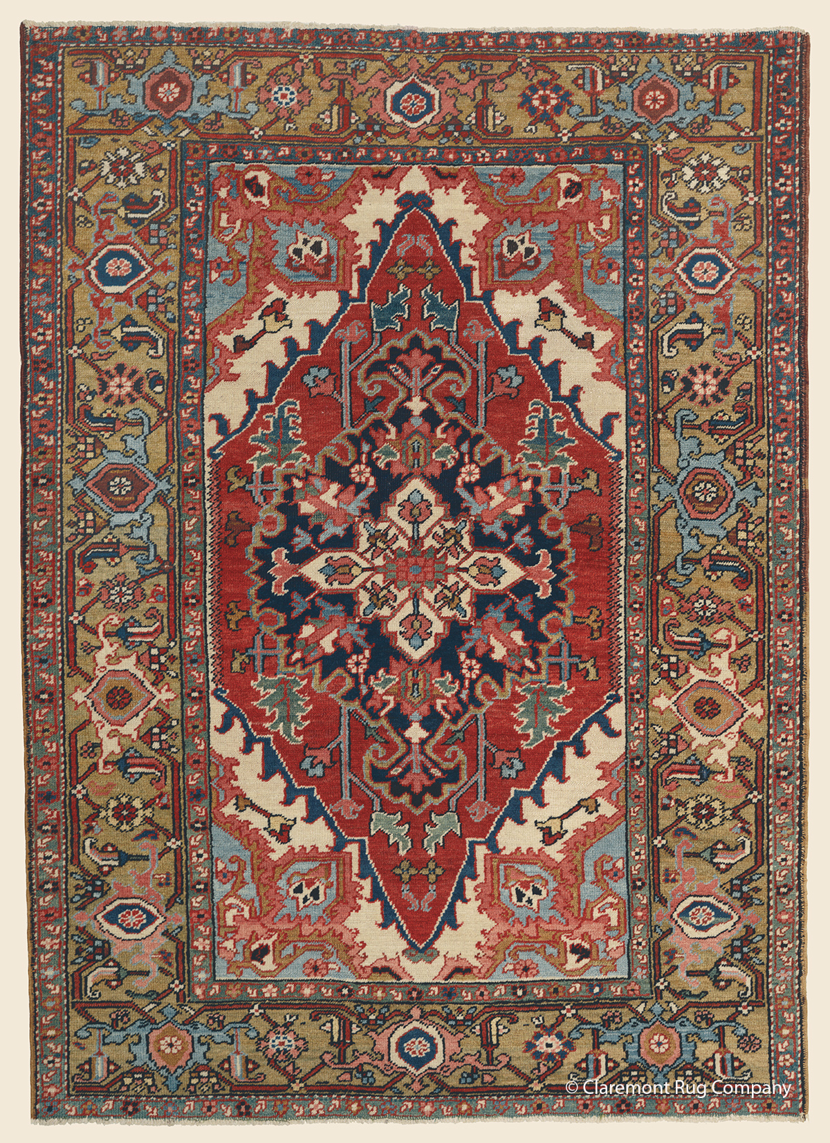Circa 1900 Antique Persian Heriz  area size carpet with stylized floral design 4ft x 6ft