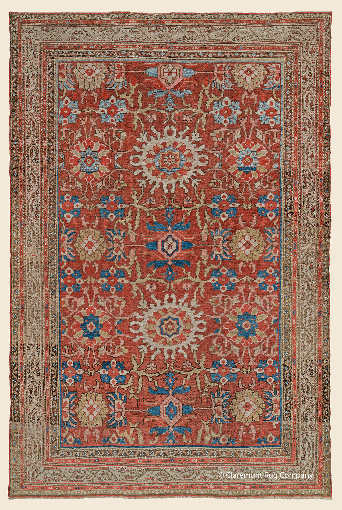 Circa 1910 Antique Persian Hamadan carpet with repeating Harshang flowerhead pattern 5ft x 8ft