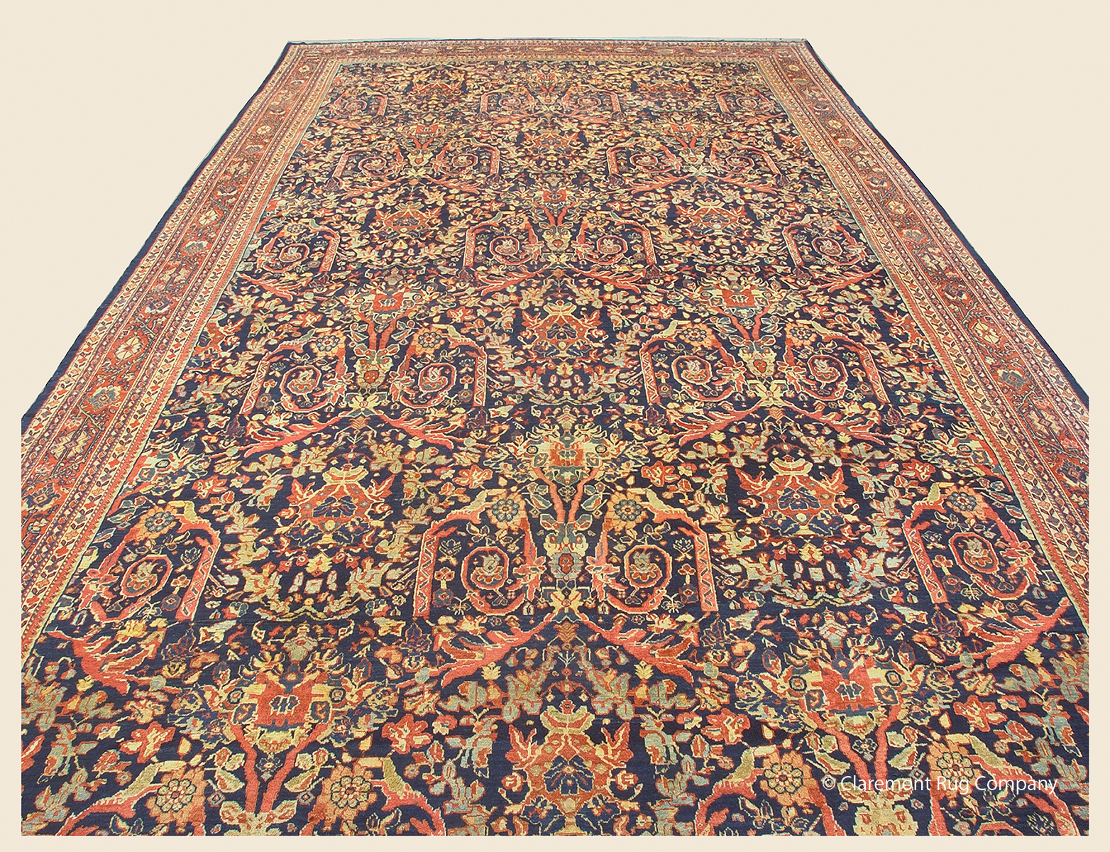 19th century Antique Persian Sultanabad with repeating Mustafavi floral pattern 14ft x 24ft