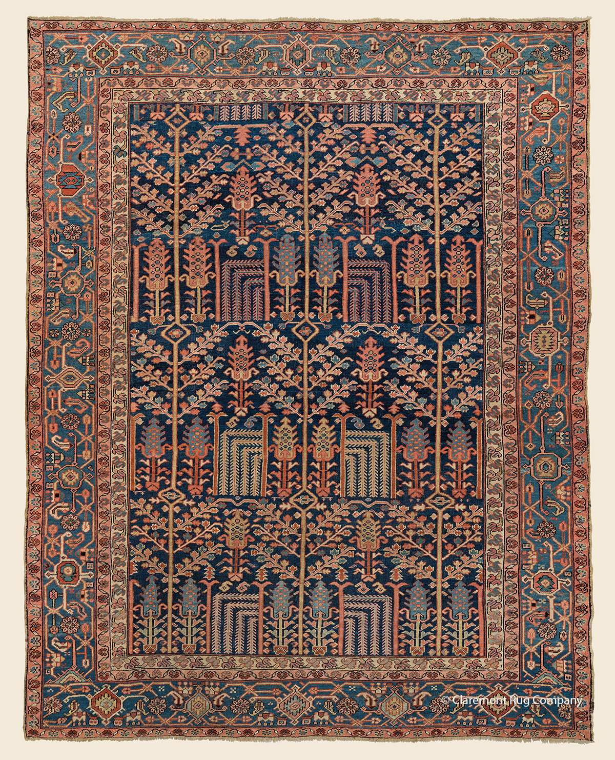 Circa 1900 antique Persian Heriz Garden of Paradise carpet with stylized cypress and willow trees