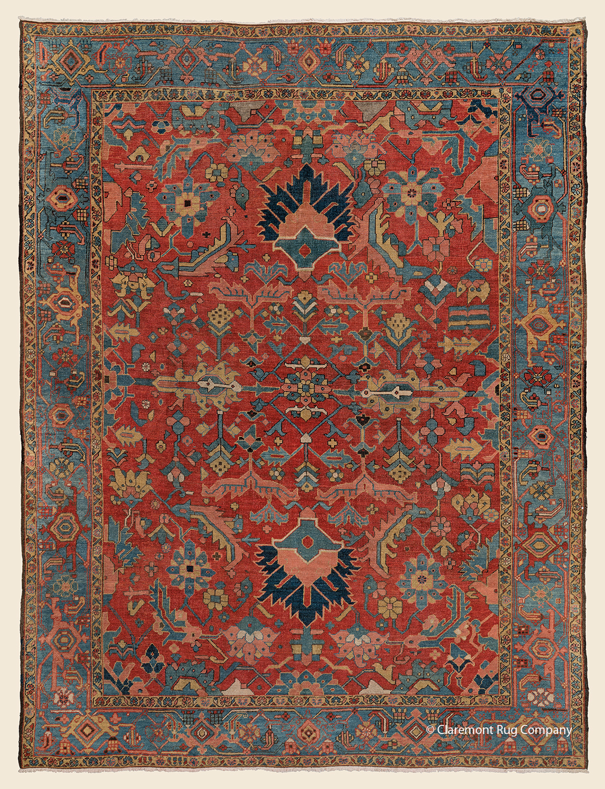19th century antique Persian Serapi Heriz carpet with stylized botanical devices 9ft x 12ft