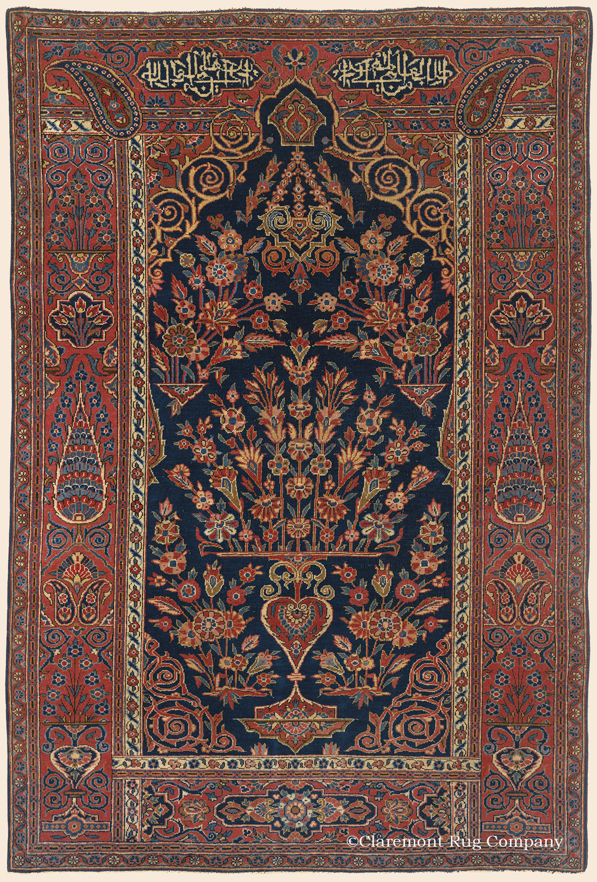 Kashan Prayer Rug Central Persian Antique Rug Claremont