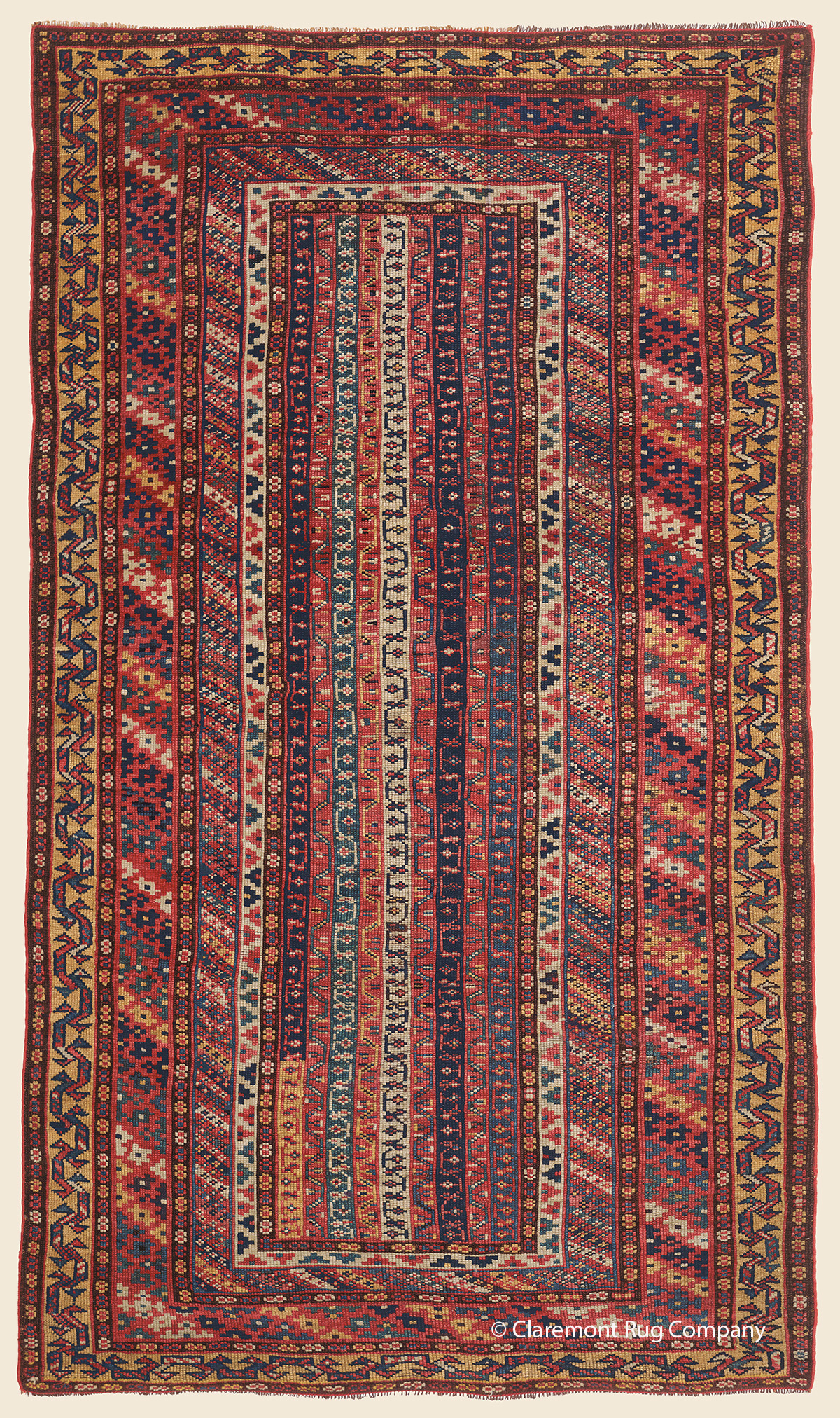 Circa 1900 Antique Persian Kurdish carpet with vertical stripes and floral design 4ft x 6ft