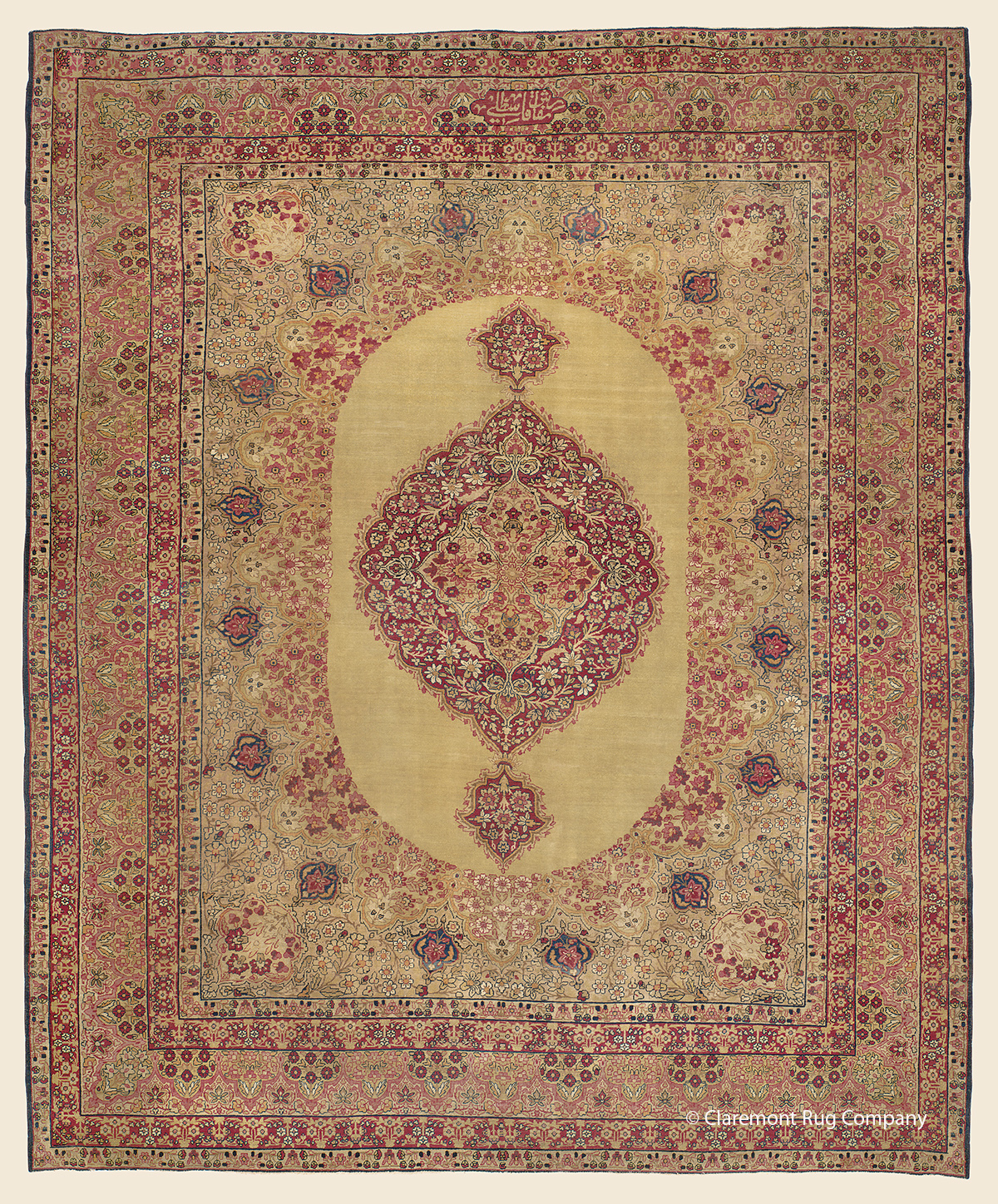 19th century Antique Persian Laver Kirman with allover floral design and overscale medallion