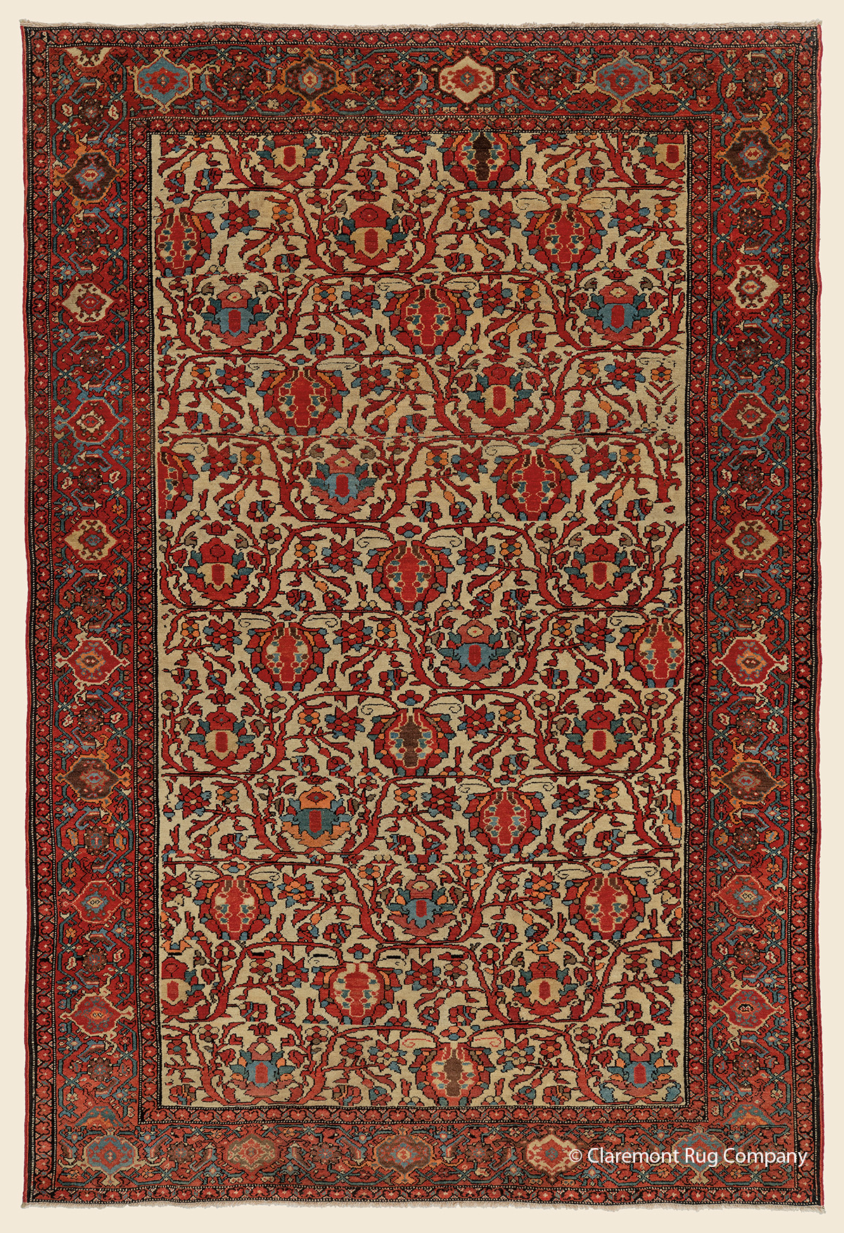 19th century Antique Persian Ferahan carpet with botanical design of blossom and fronds