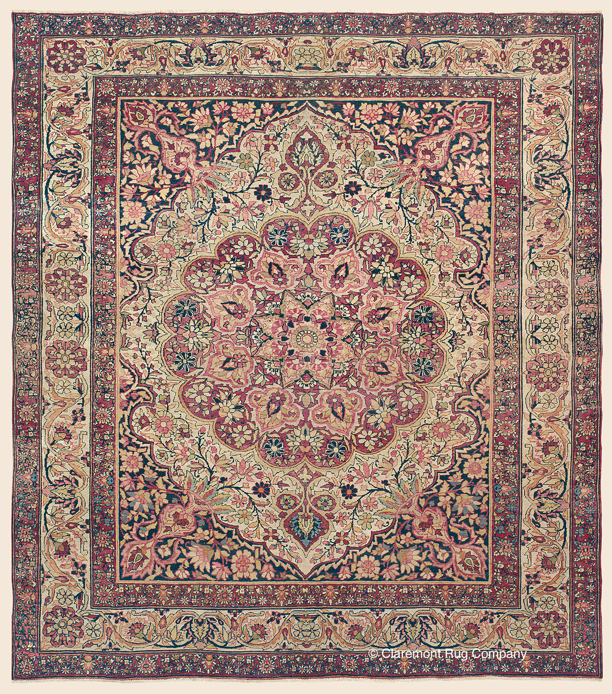 Oriental Rugs Red Bank Nj: LAVER KIRMAN, Southeast Persian Antique Rug