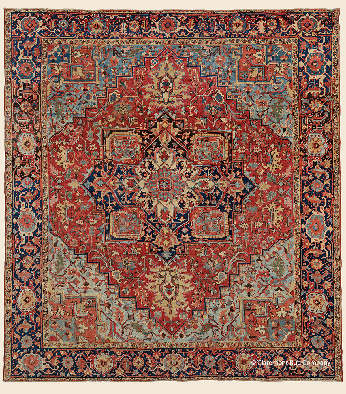 19th century Antique Persian Heriz room size carpet 10ft x 11ft with floral design and abrash ground