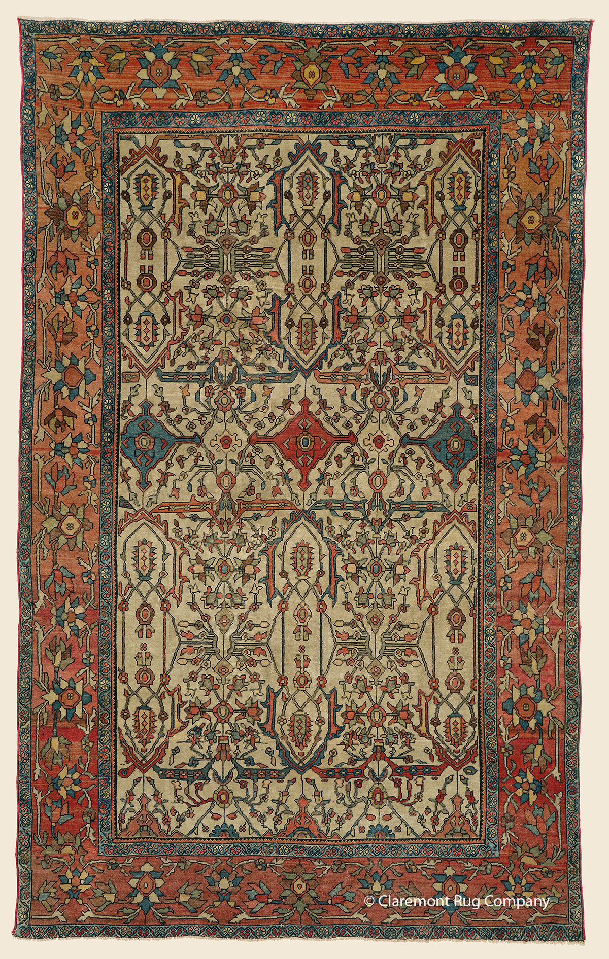 19th Century Ferahan Oriental rug with filigree design of blossoms and vinery on an ivory ground