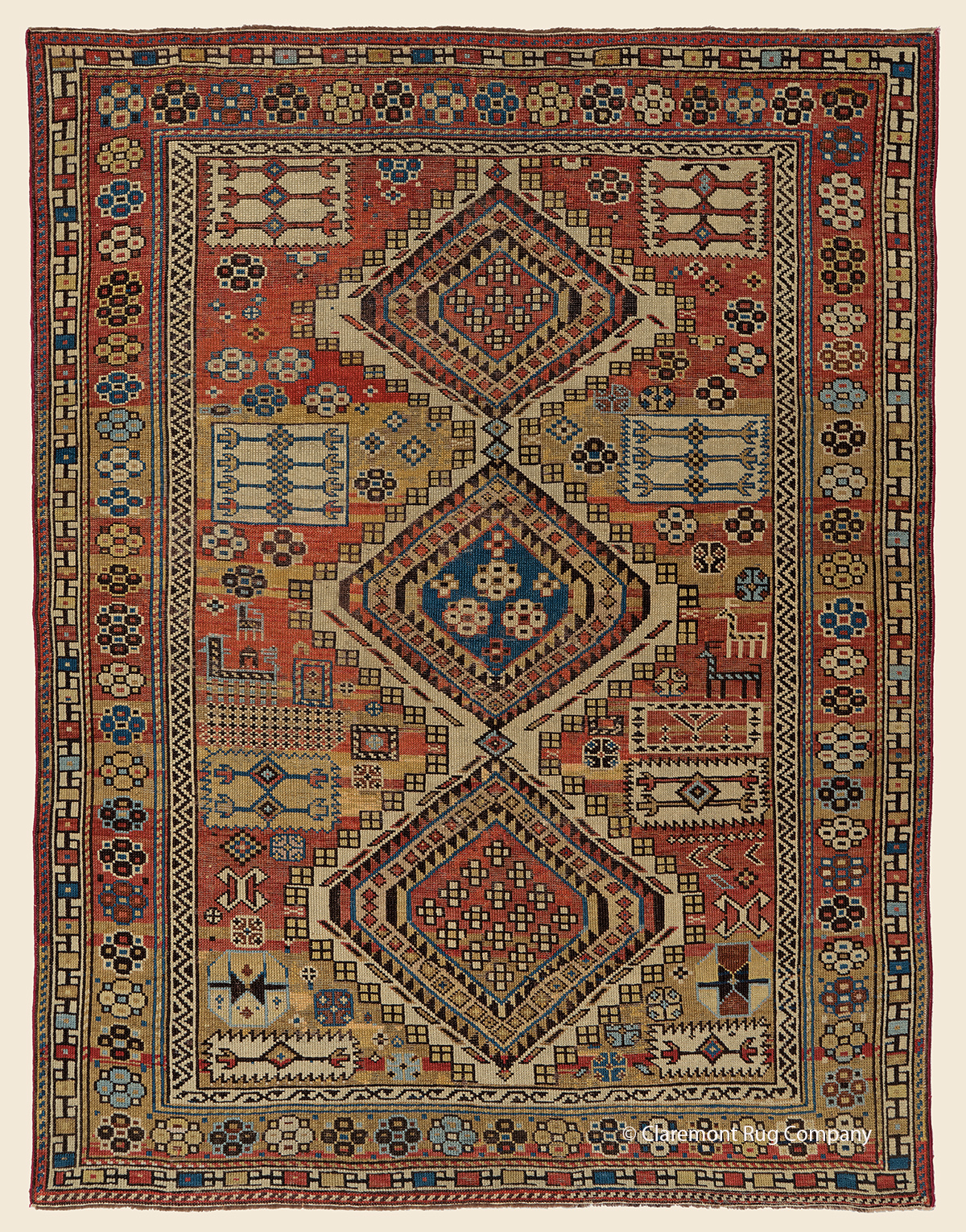 19th century Antique Caucasian Shirvan tribal carpet with hexagonal medallions 3ft x 4ft