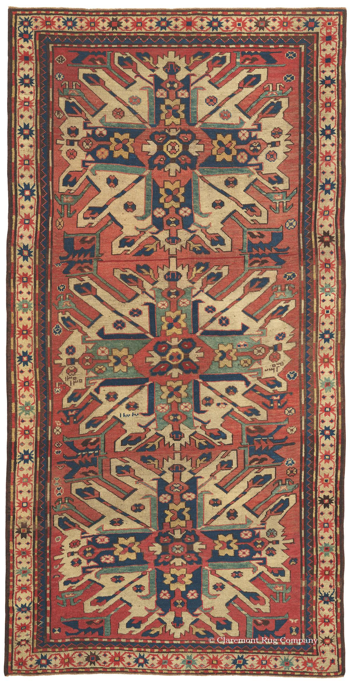 Kazak Antique Karabagh Rug With Rare Eagle Motif