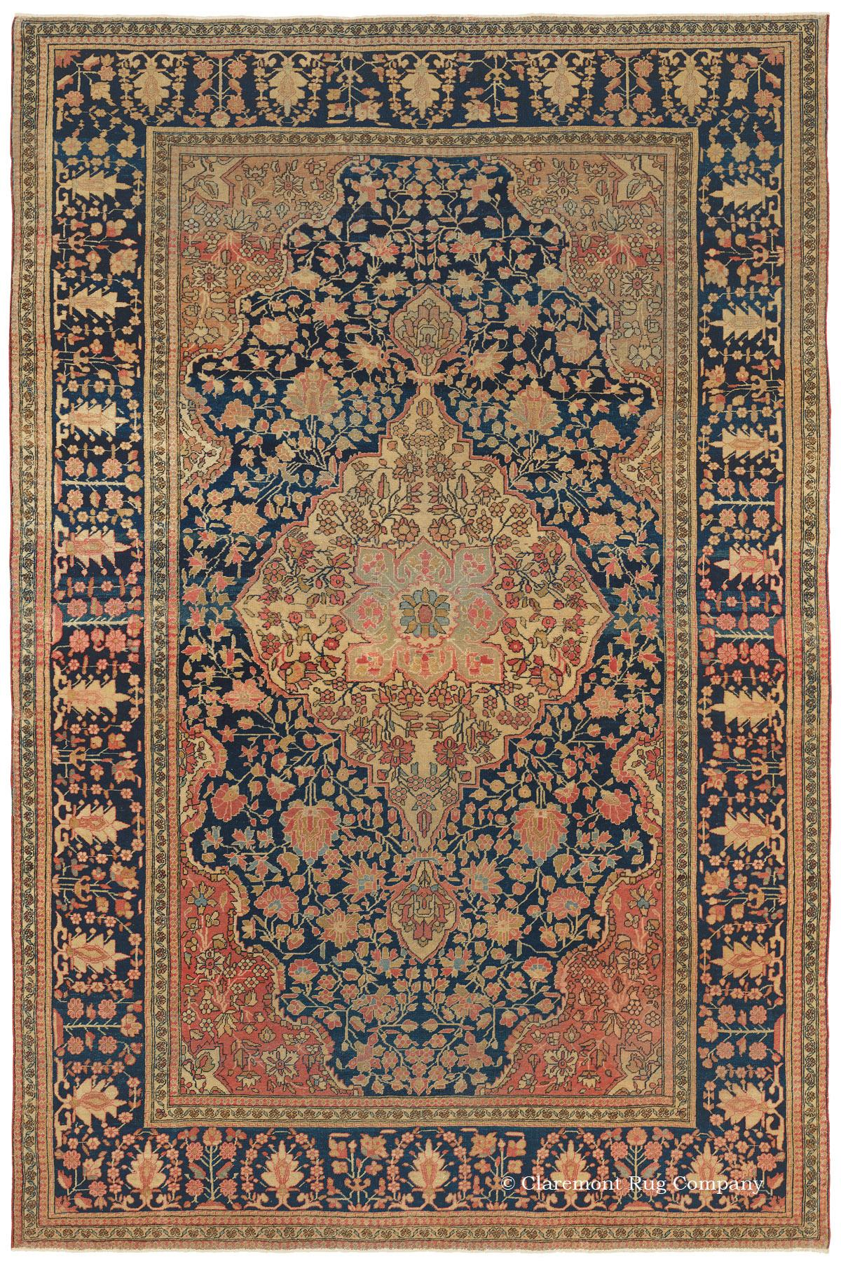 19th Century Motasham Kashan Antique Persian Rug