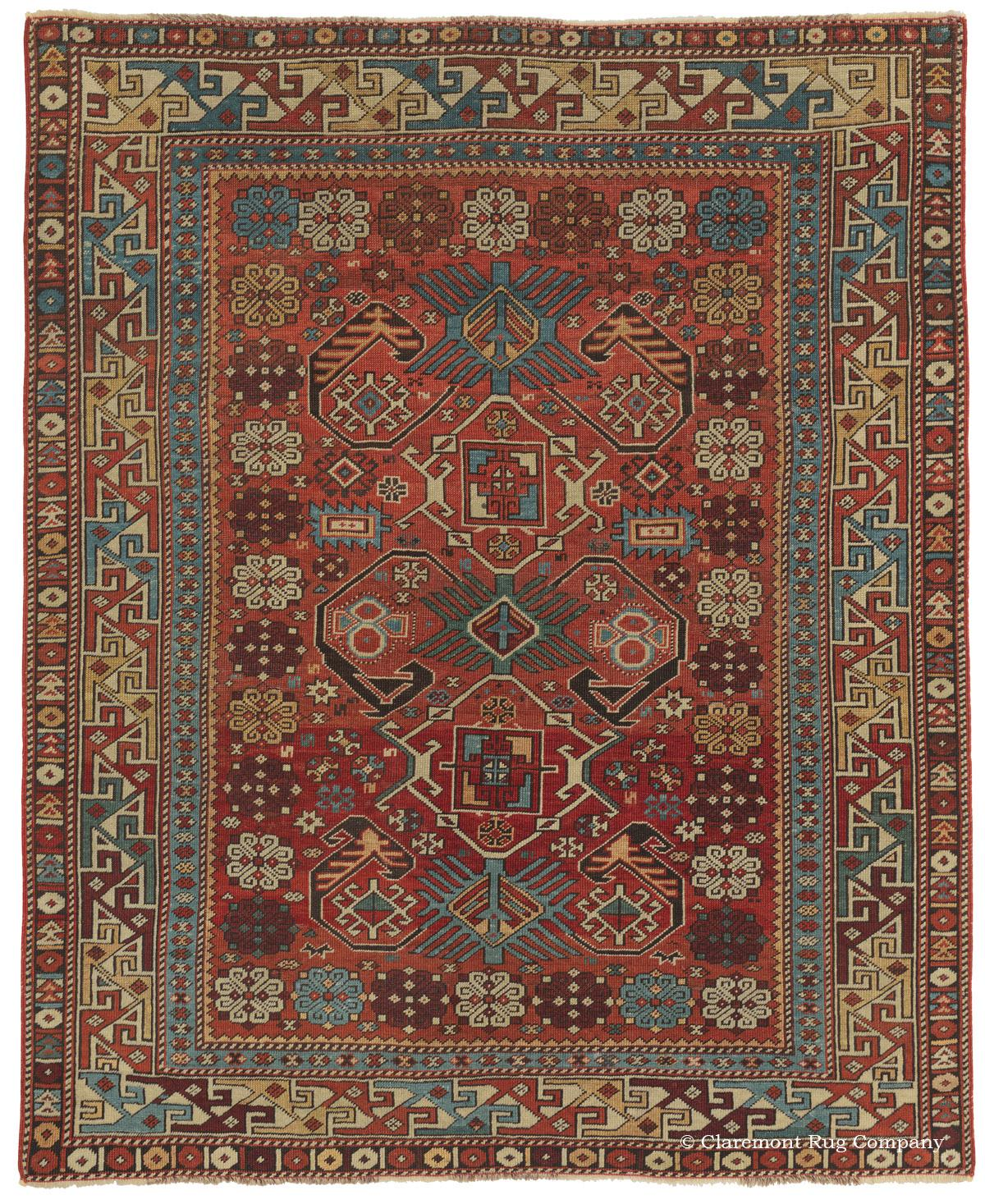 Antique Caucasian Shirvan Rug With Rare Red Ground