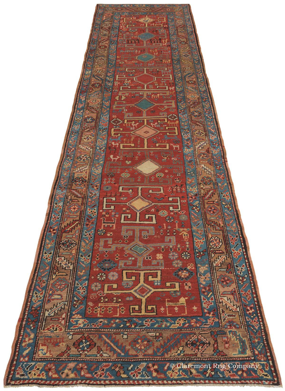 Heriz antique oriental rug in runner size for Runners carpets and rugs