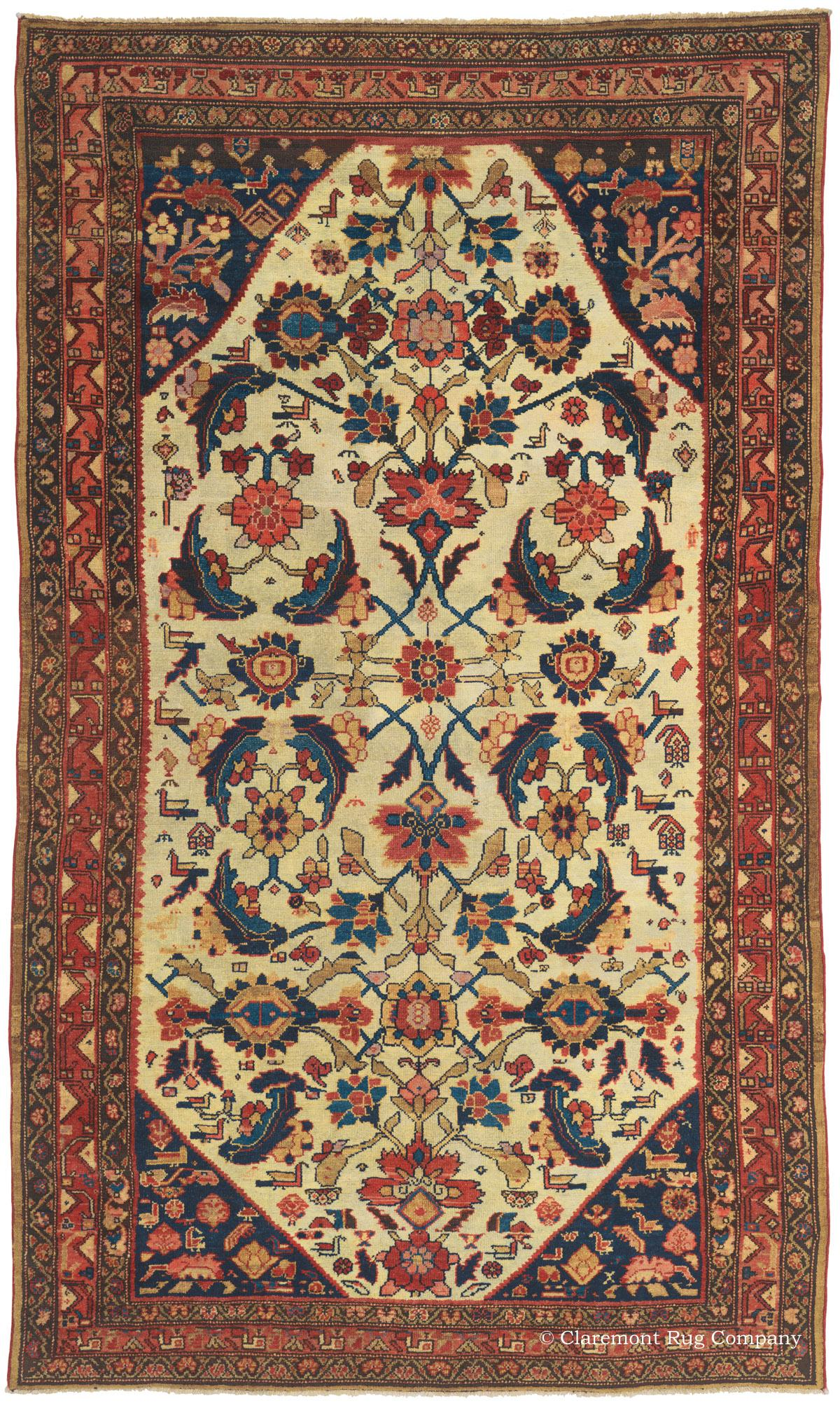 19th Century Malayer Oreintal Rug With Ivory Ground And